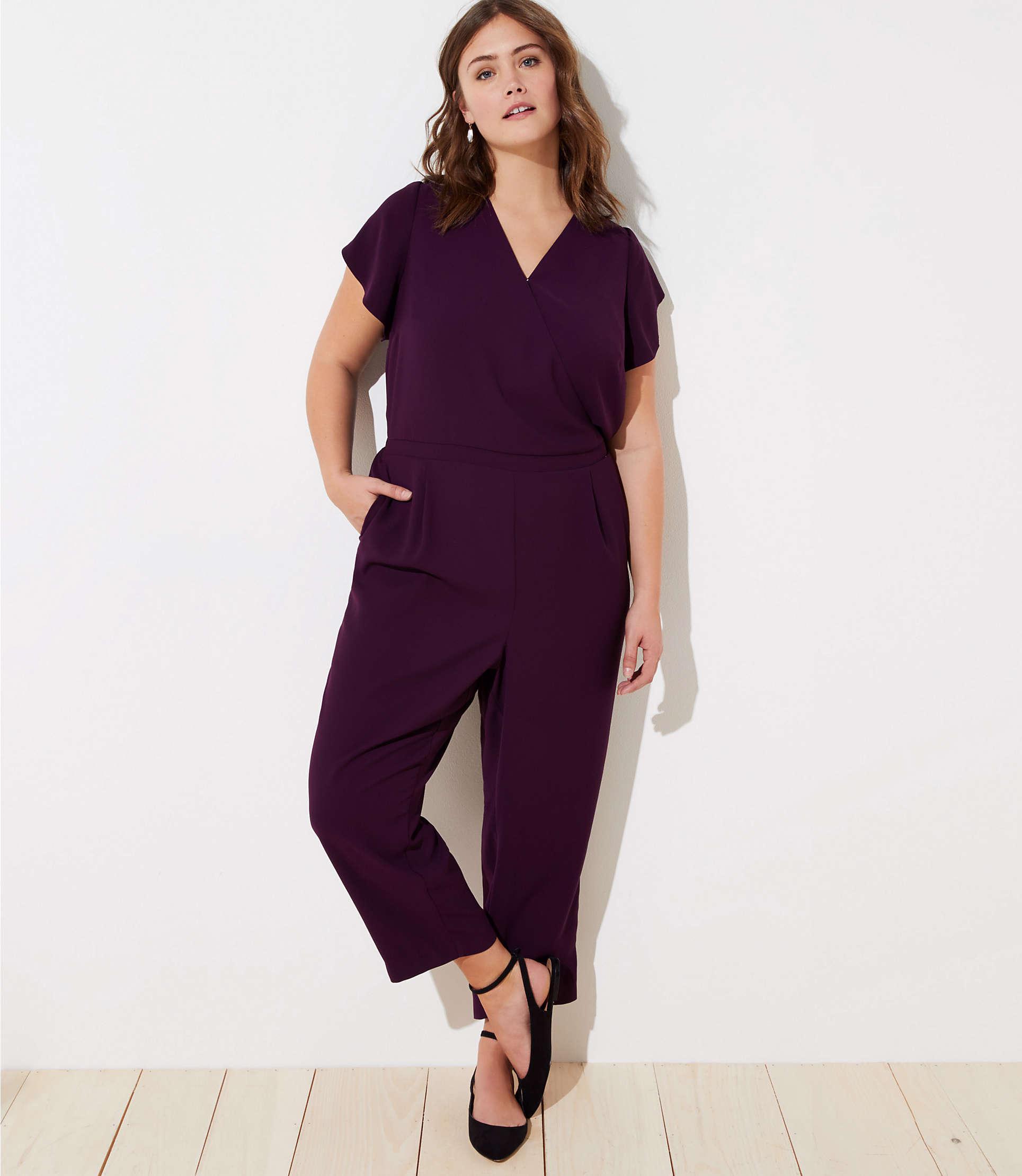 73ff4fd0567 LOFT Plus Petal Sleeve Back Tie Jumpsuit in Purple - Lyst