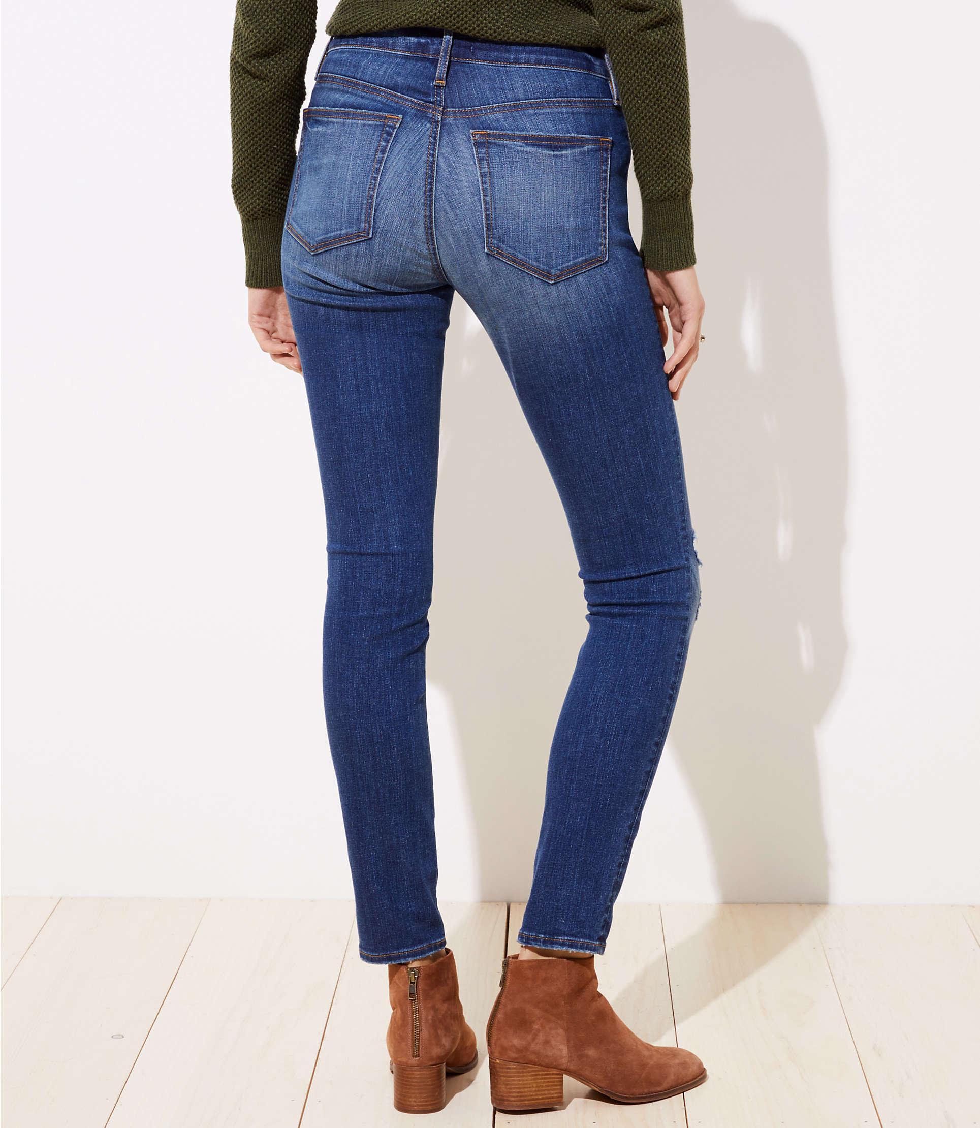 3c5e9163 ... Tall Curvy Destructed Slim Pocket Skinny Jeans In Mid Indigo Wash -  Lyst. View fullscreen