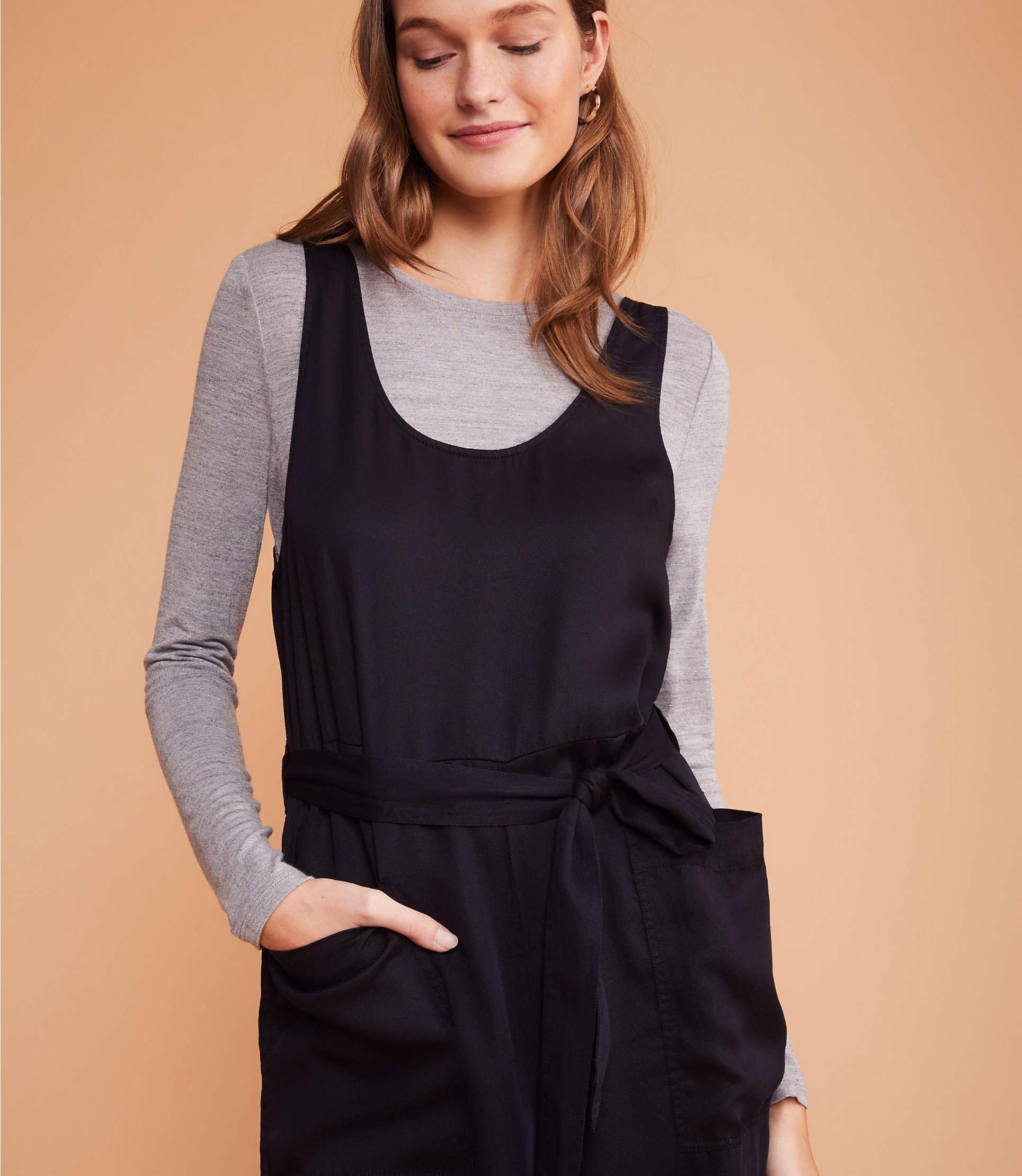 4eac03f571c LOFT - Black Lou   Grey Fluid Twill Tie Waist Jumpsuit - Lyst. View  fullscreen