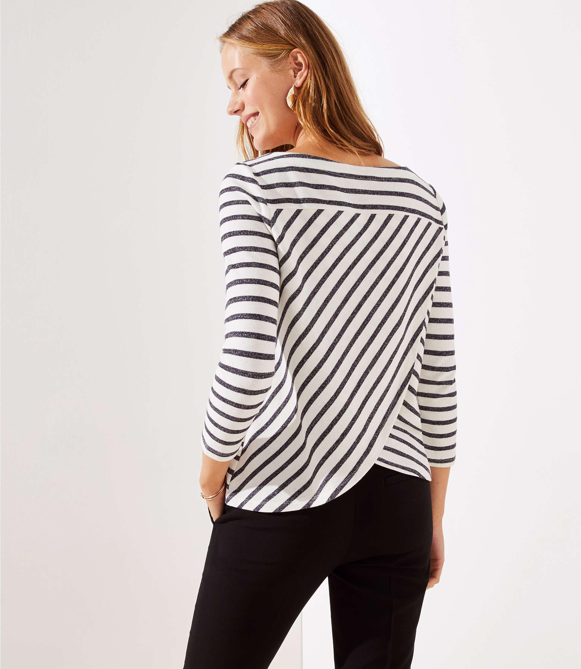 245aaf9da4 LOFT. Women's Striped Tulip Back Sweatshirt