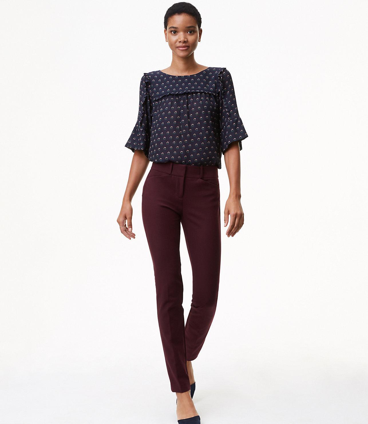 0595dce4dba Lyst - LOFT Tall Skinny Bi-stretch Ankle Pants In Marisa Fit in Purple