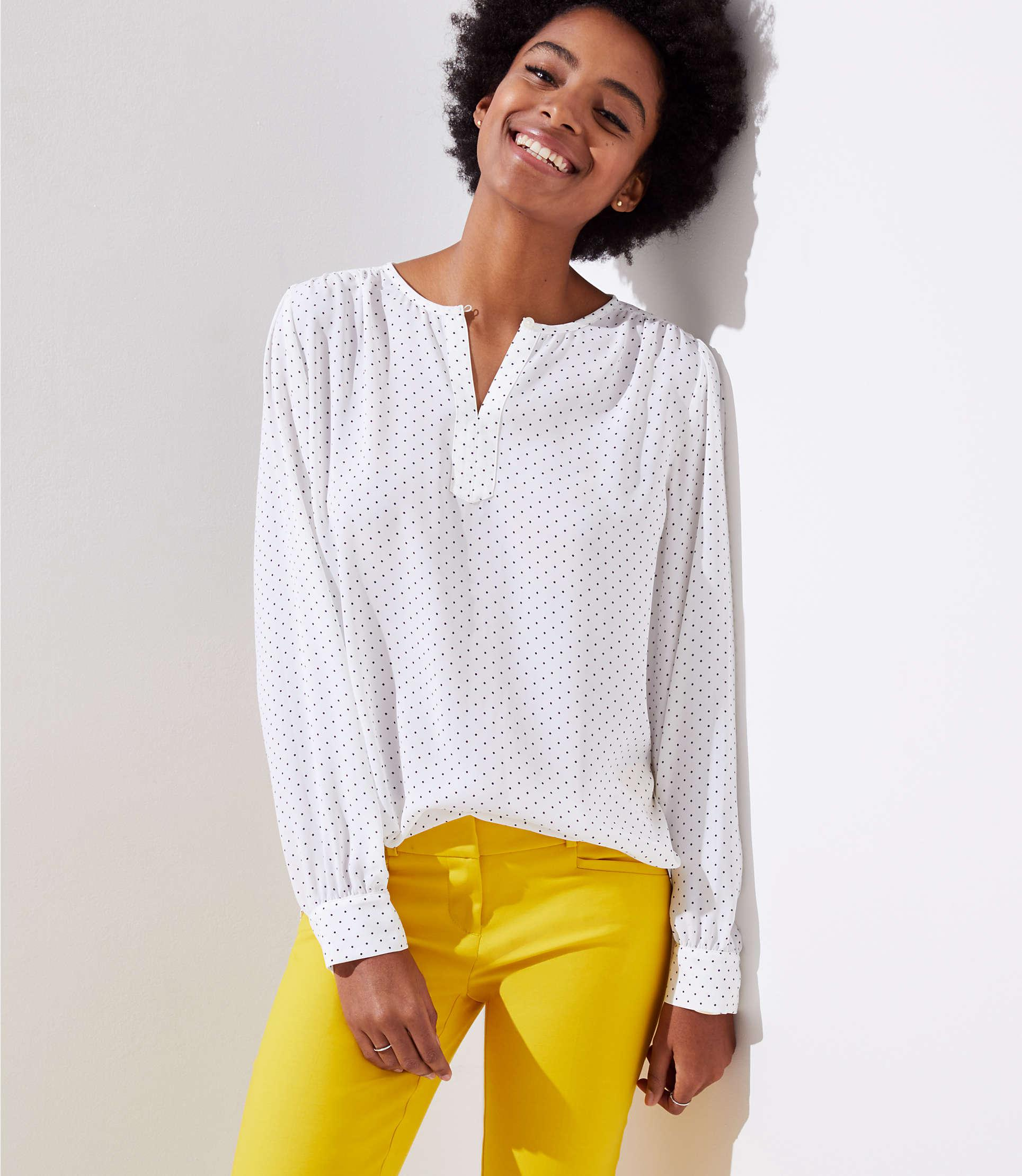 829708b8 LOFT Petite Dotted Keyhole Blouse in White - Lyst