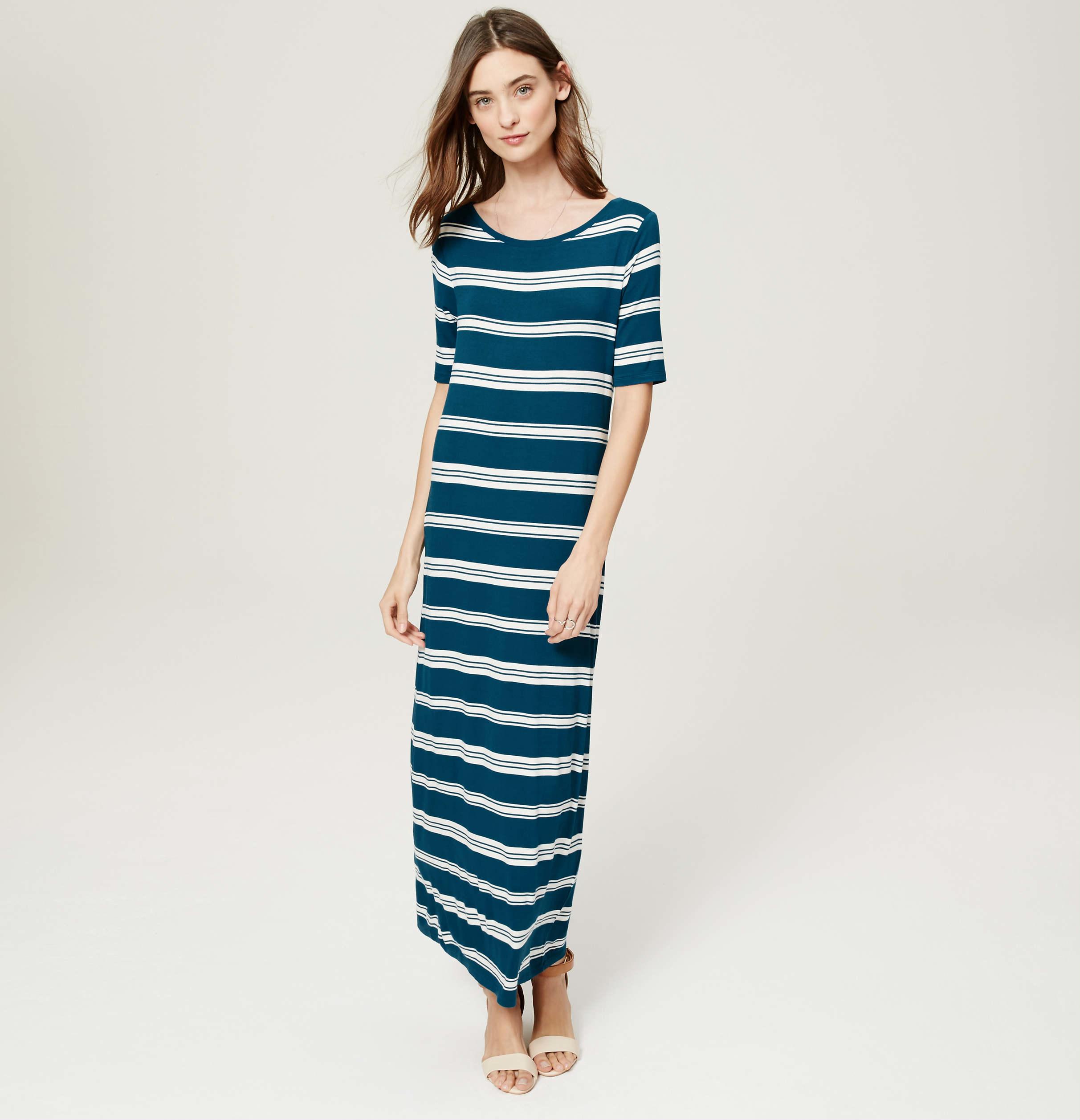 Loft striped short sleeve maxi dress in blue lyst for Ann taylor loft fashion island
