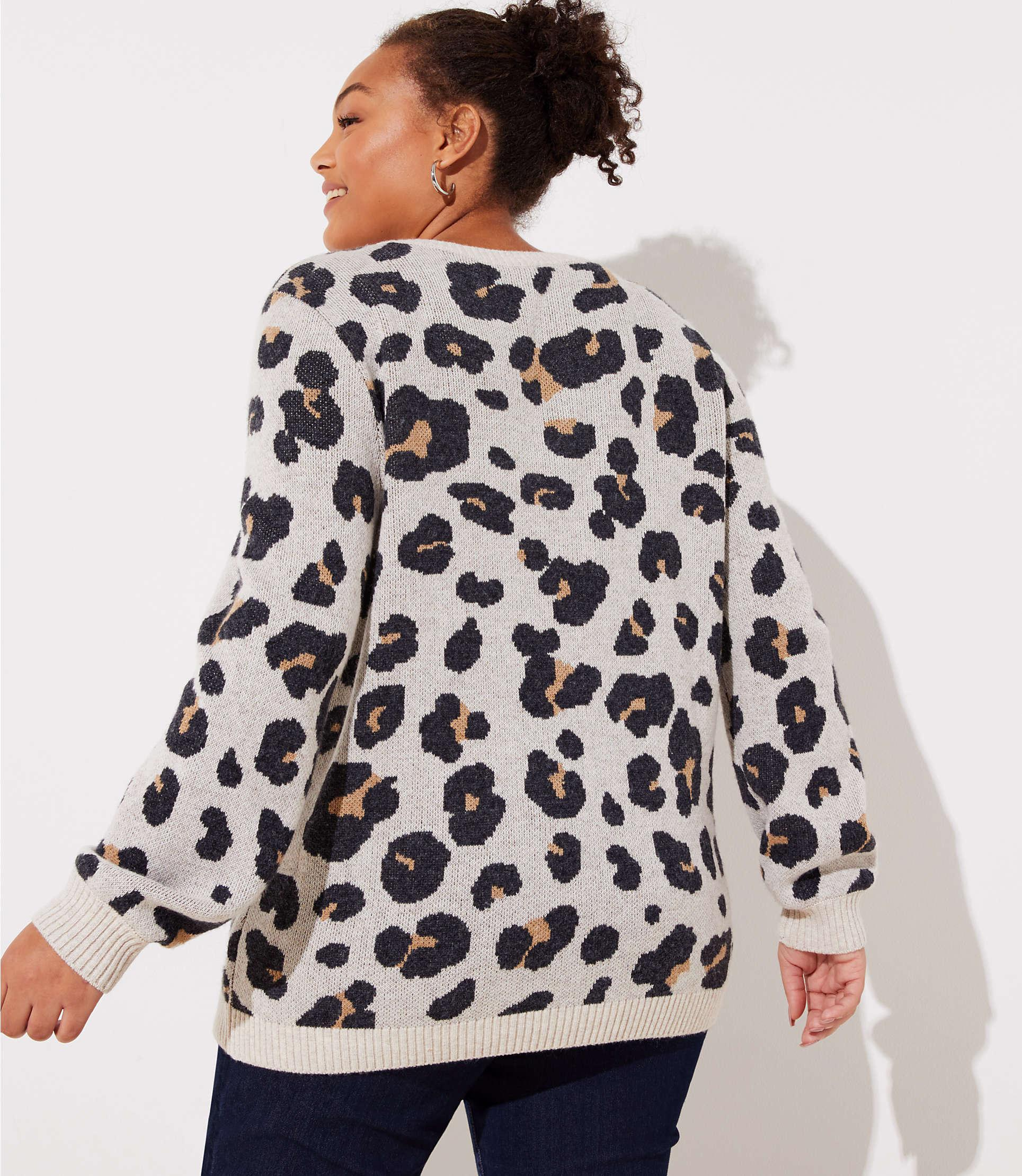 7df0f1a0417 LOFT - Multicolor Plus Leopard Jacquard Sweater - Lyst. View fullscreen