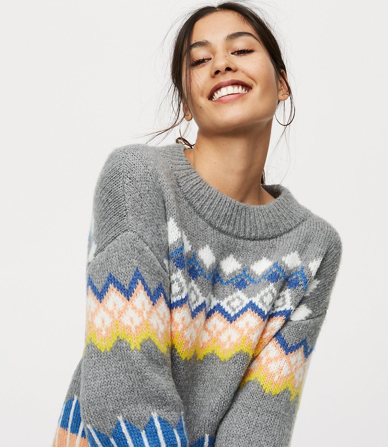 b4fc523ca412 Lyst - LOFT Petite Slouchy Fairisle Sweater