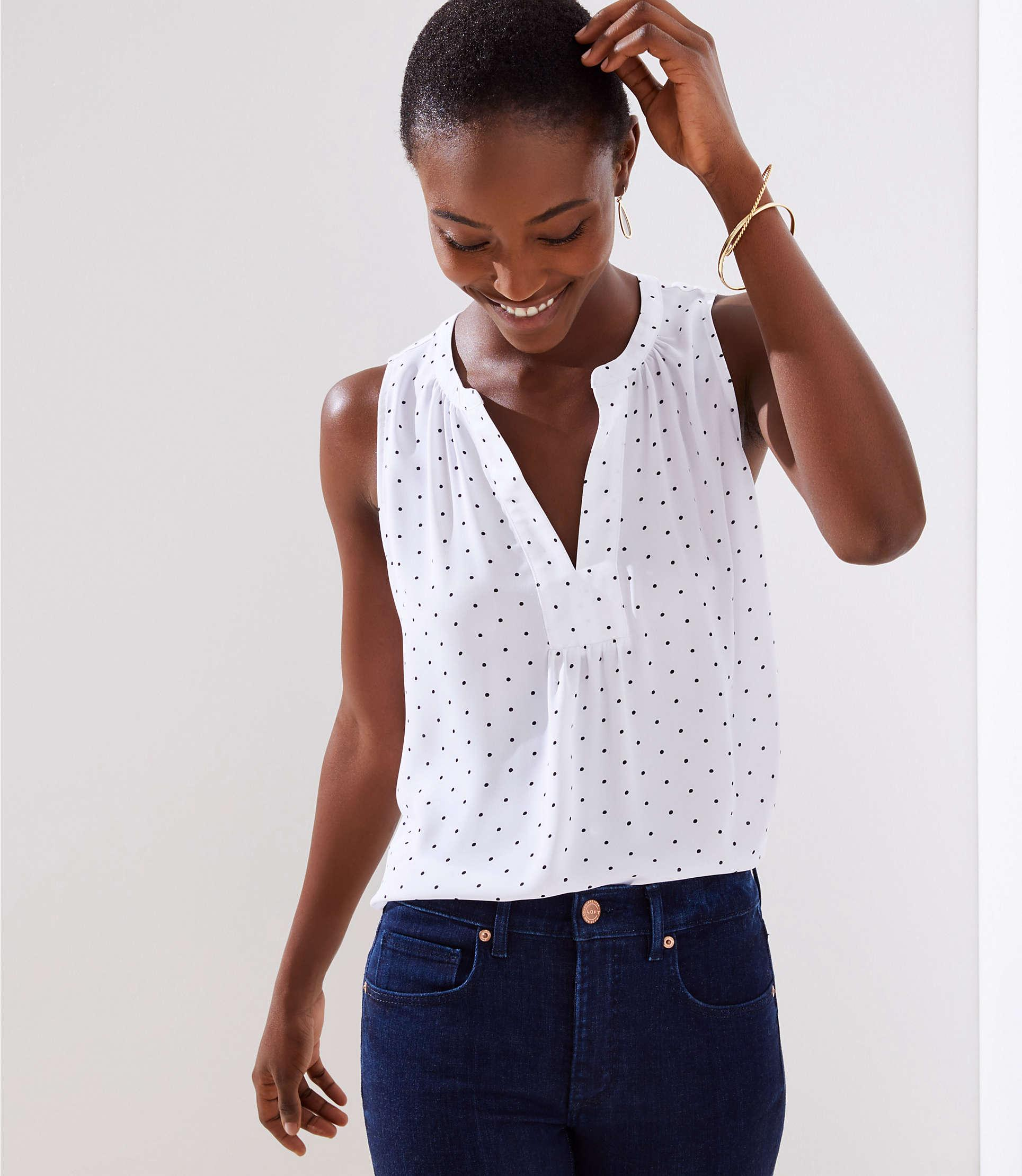 3fa992763b1aed Lyst - LOFT Dotted Mixed Media Split Neck Shell in White