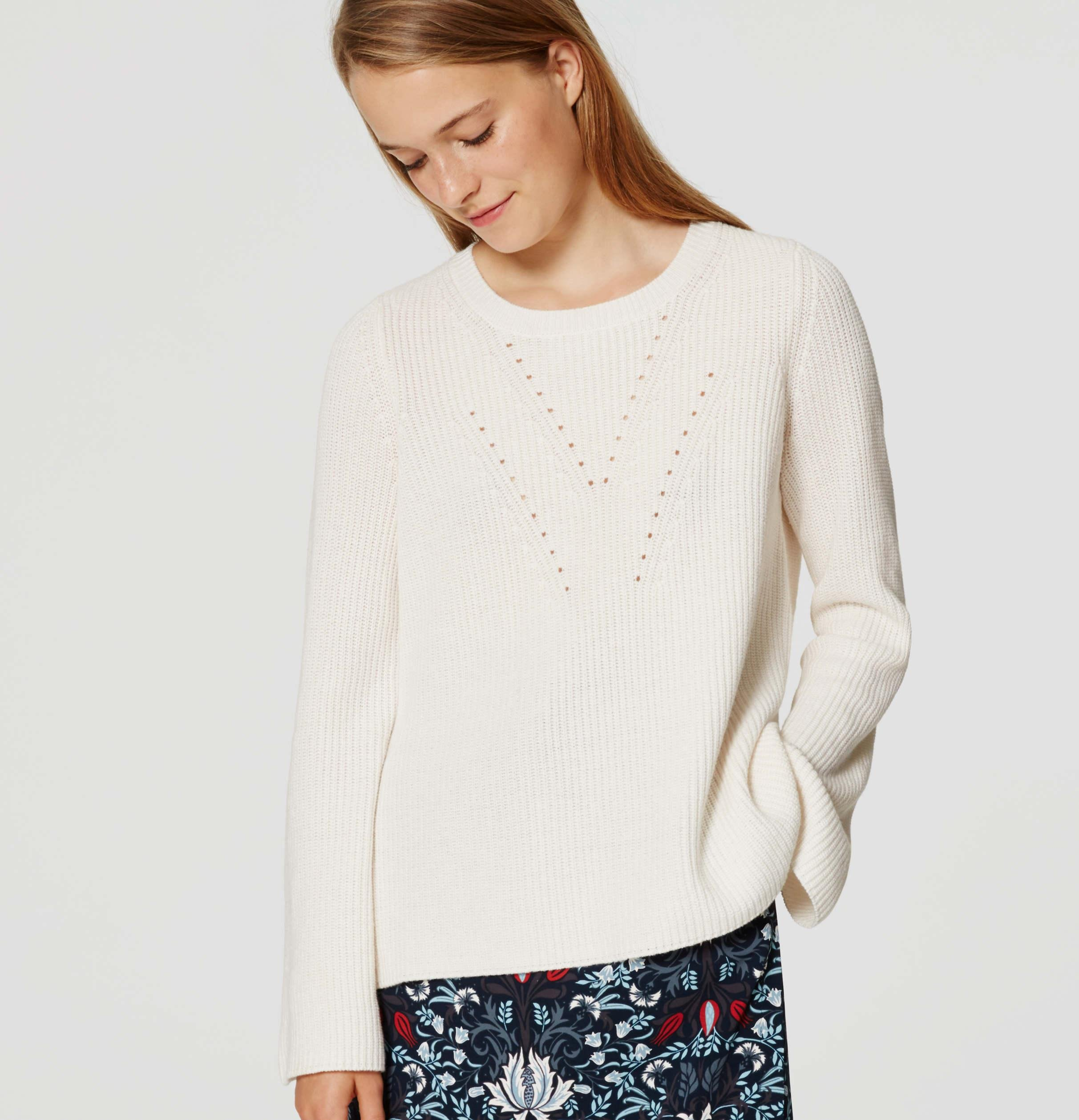 Lyst Loft Ribbed Bell Sleeve Sweater In White