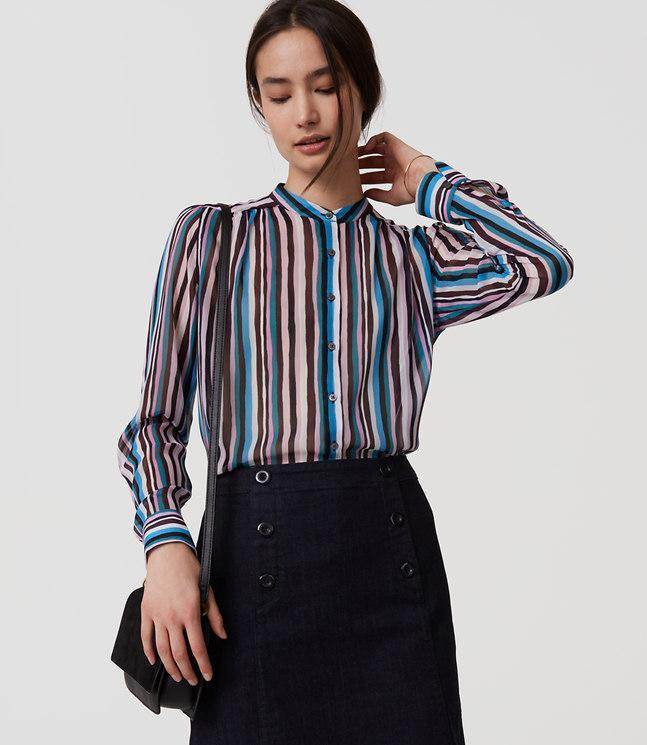 Lyst loft striped puff sleeve blouse in blue for Ann taylor loft fashion island