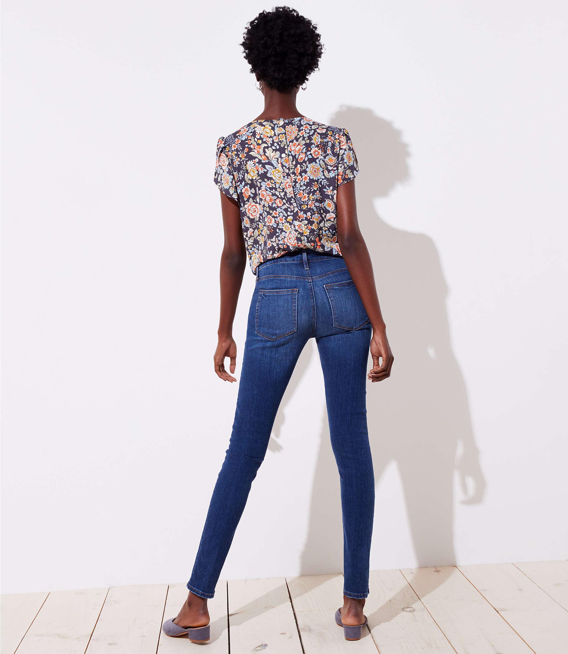 d7282ee8c2044 LOFT - Blue Tall Modern Destructed Slim Pocket Skinny Jeans In Mid Indigo  Wash - Lyst. View fullscreen