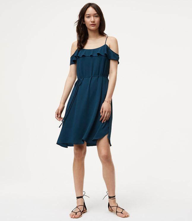 Loft Cold Shoulder Flounce Dress In Blue Lyst