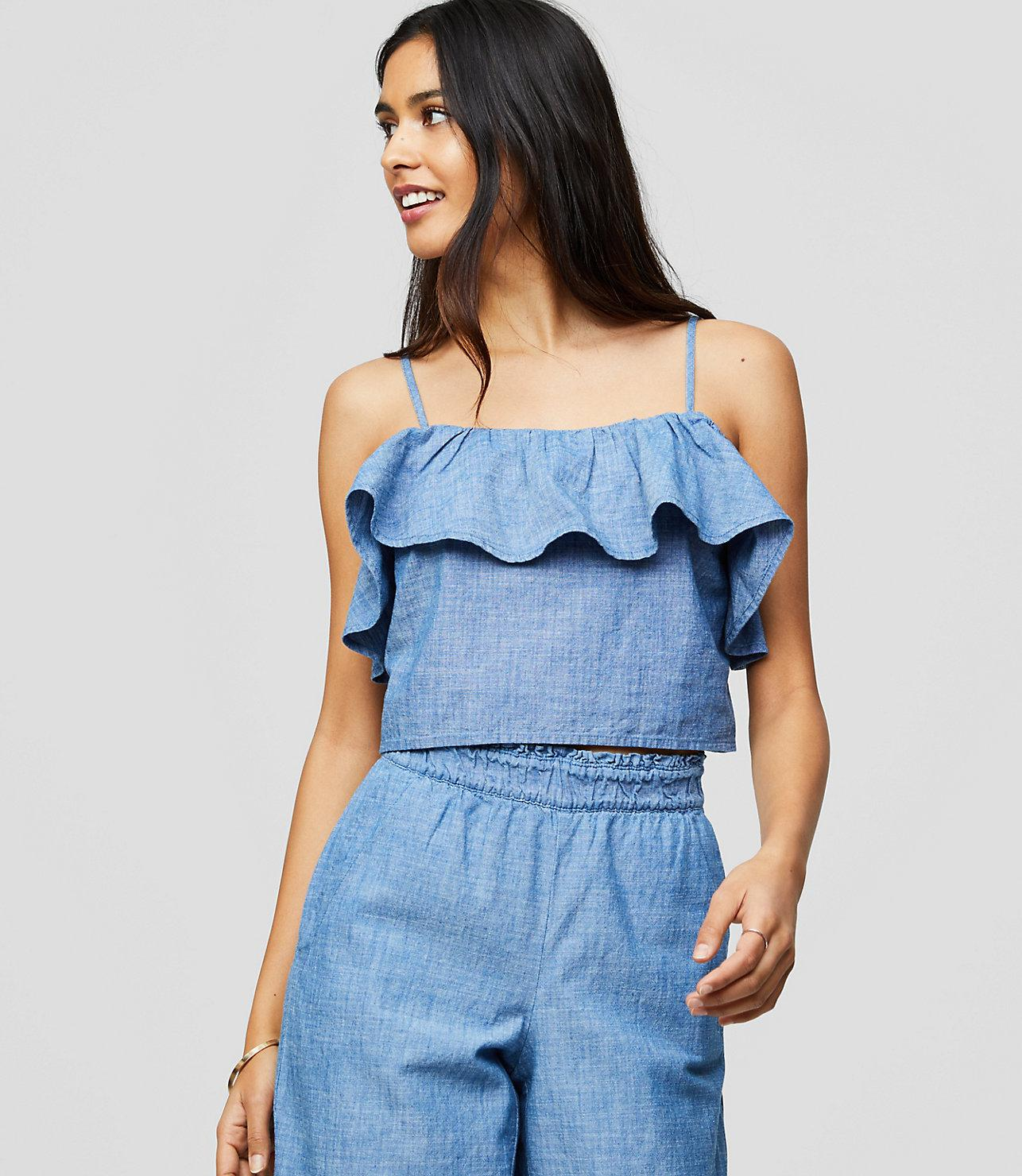 c6f49322f6128 Lyst - LOFT Beach Chambray Ruffle Cropped Top in Blue