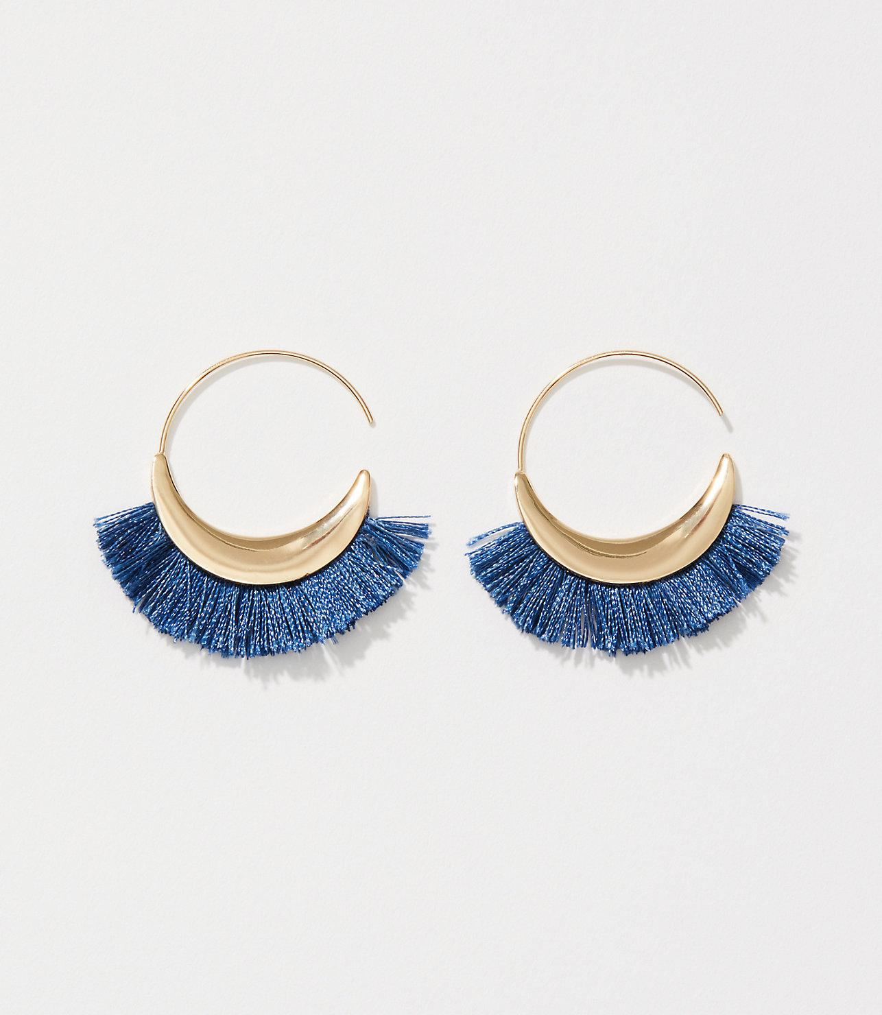 7de57f33a LOFT Fringe Hoop Earrings in Blue - Lyst