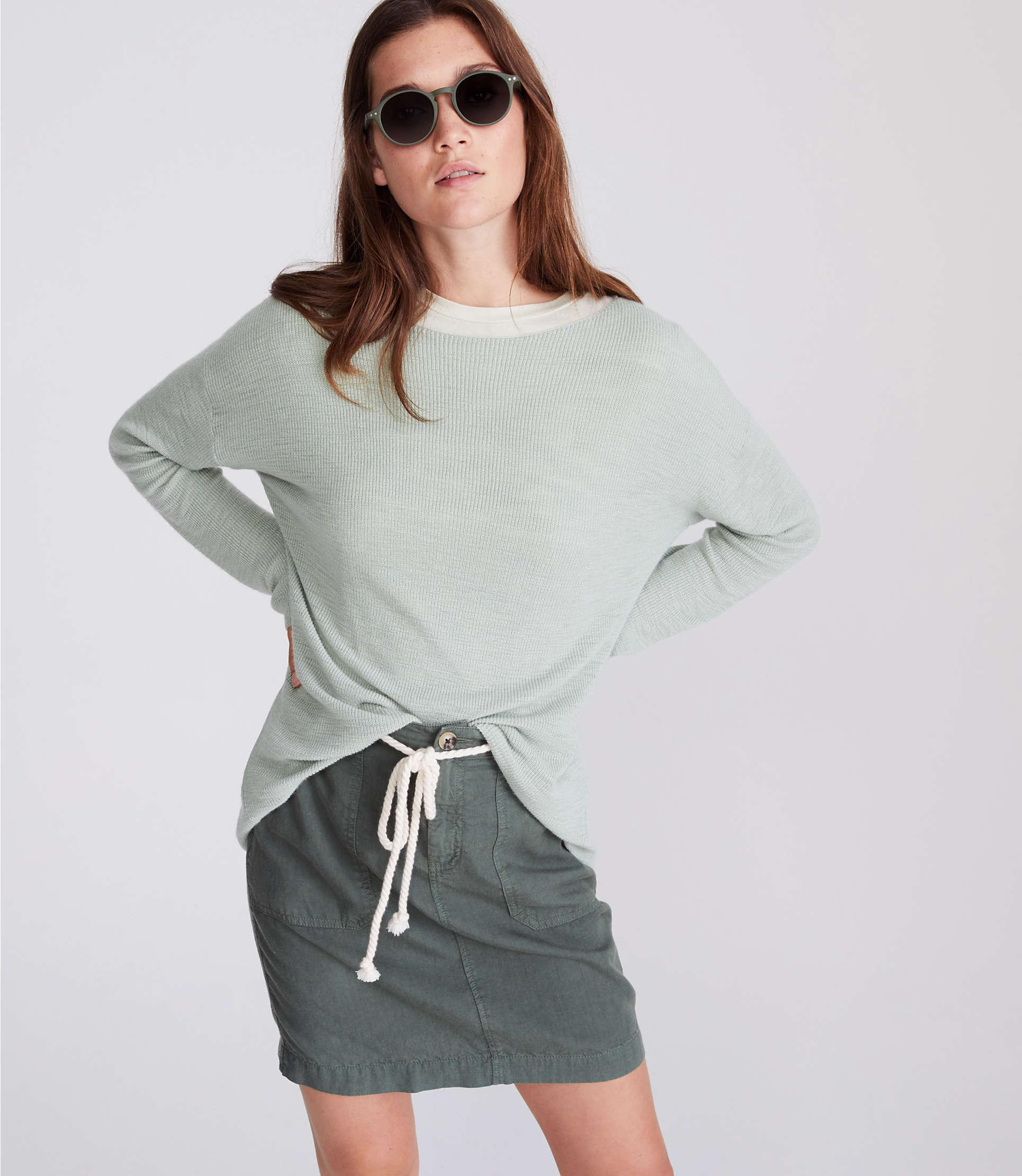 d9026a56fd5 Lyst - LOFT Lou   Grey Ribbed Tunic Sweater in Gray