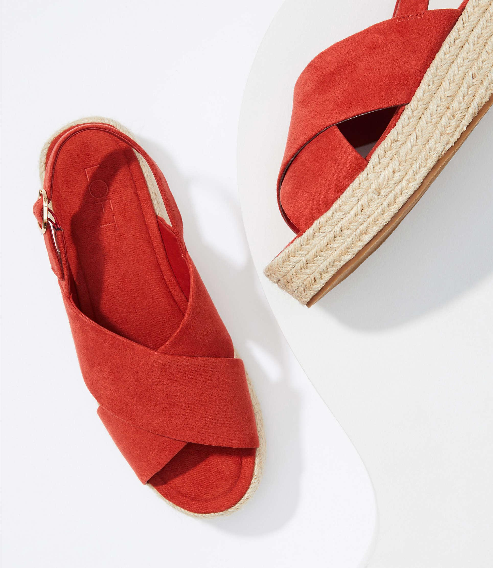 478264e52d26 Lyst - LOFT Espadrille Slingback Sandals in Red