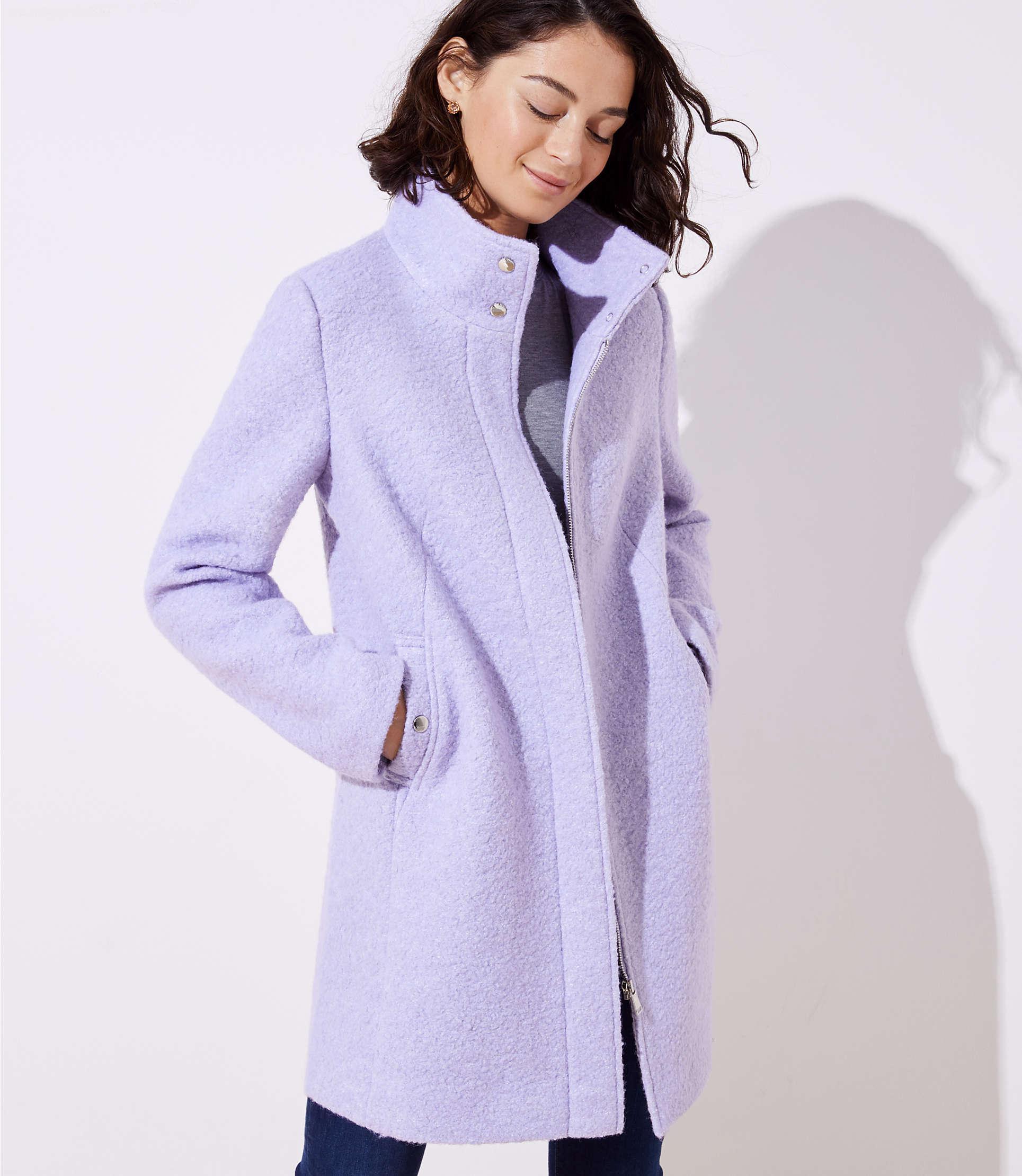 739097c91858 LOFT Petite Funnel Neck Coat in Purple - Lyst