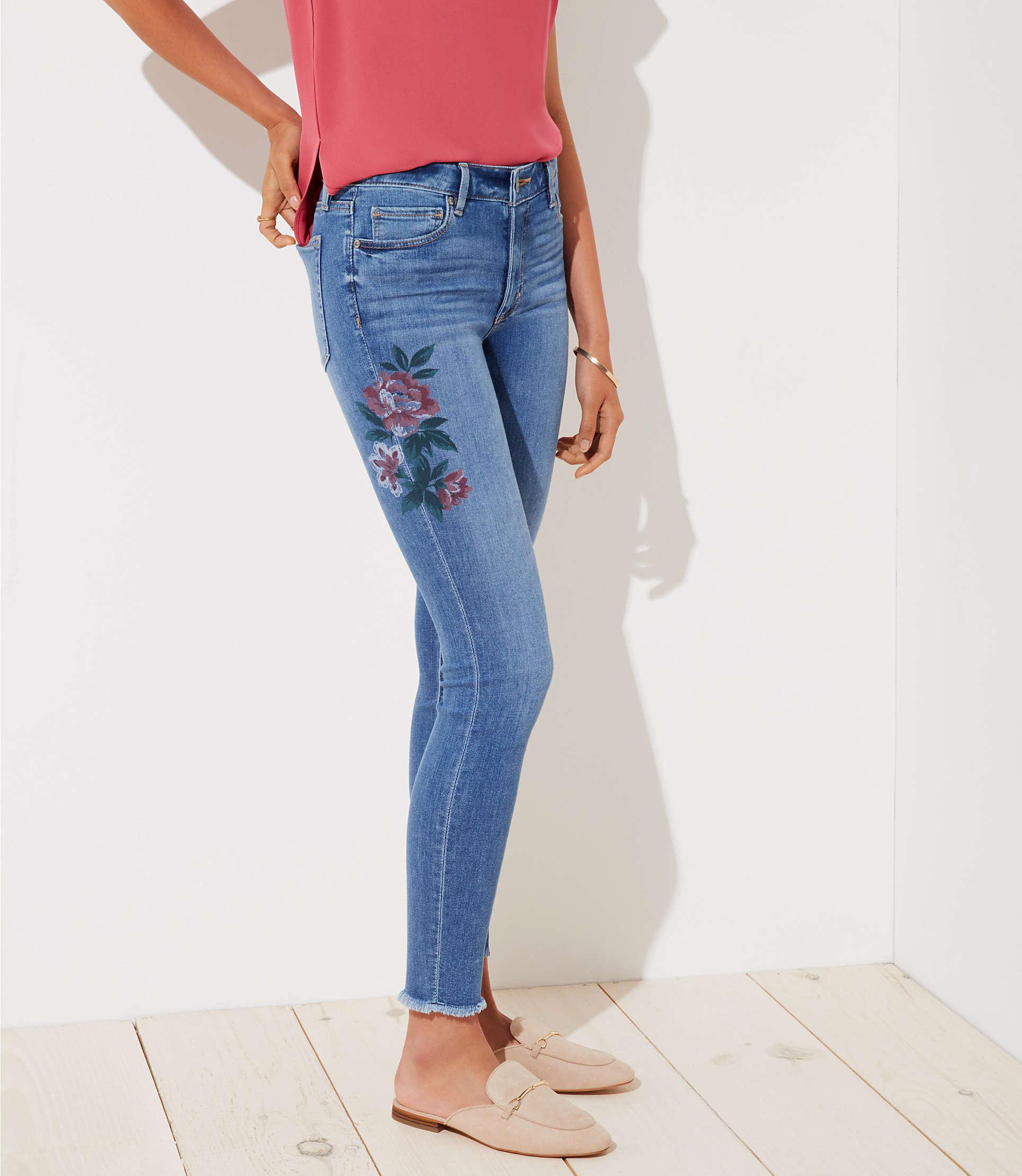 70023c0985d LOFT Curvy Painted Floral Frayed Skinny Jeans In Indigo Wash in Blue ...