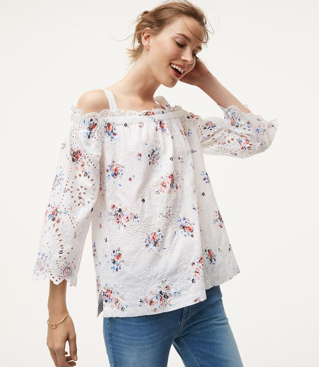 3f9060ffcbb6a6 Lyst - LOFT Petite Floral Eyelet Off The Shoulder Top in White