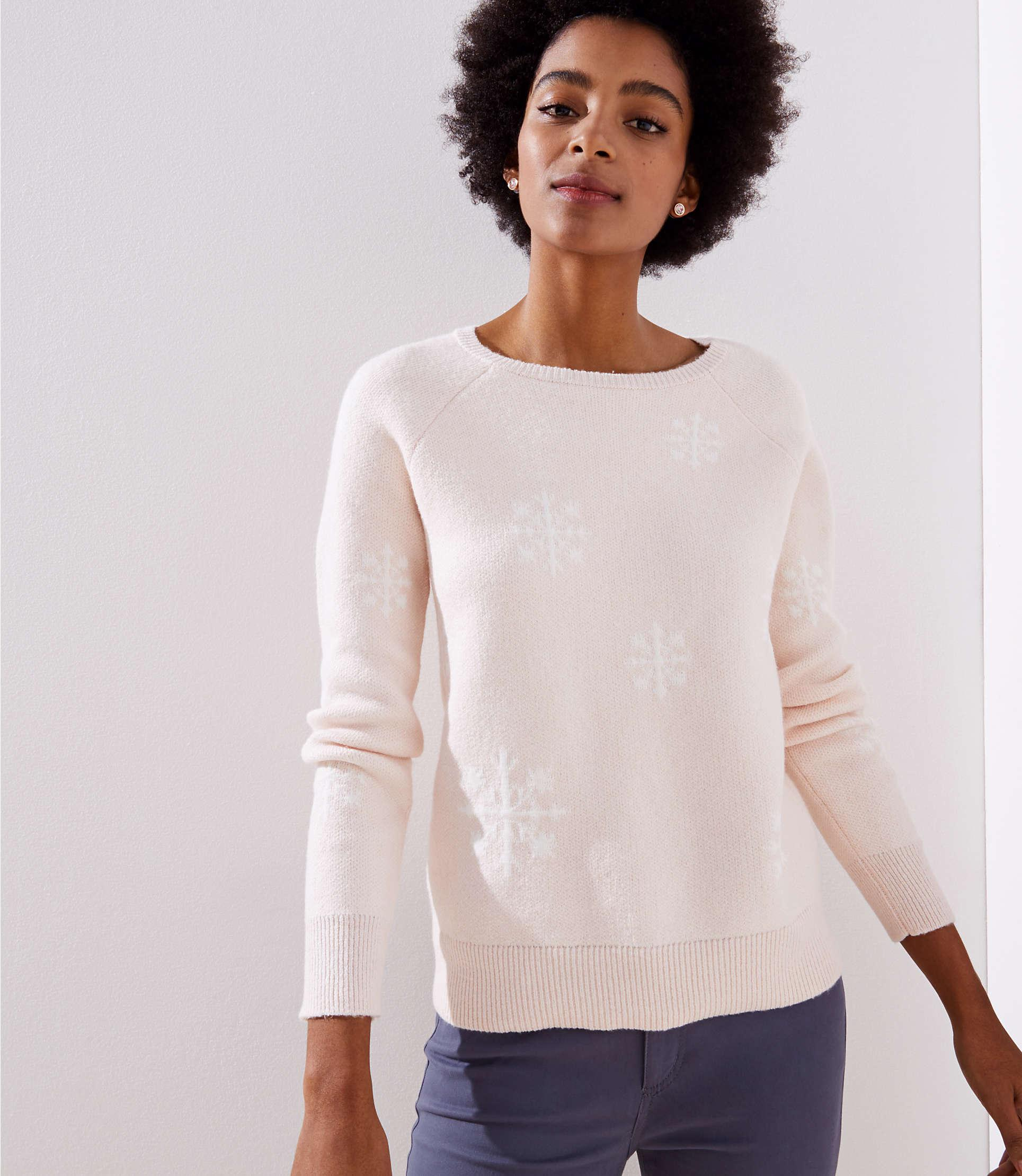 bb487a264d LOFT Snowflake Sweater in Pink - Lyst