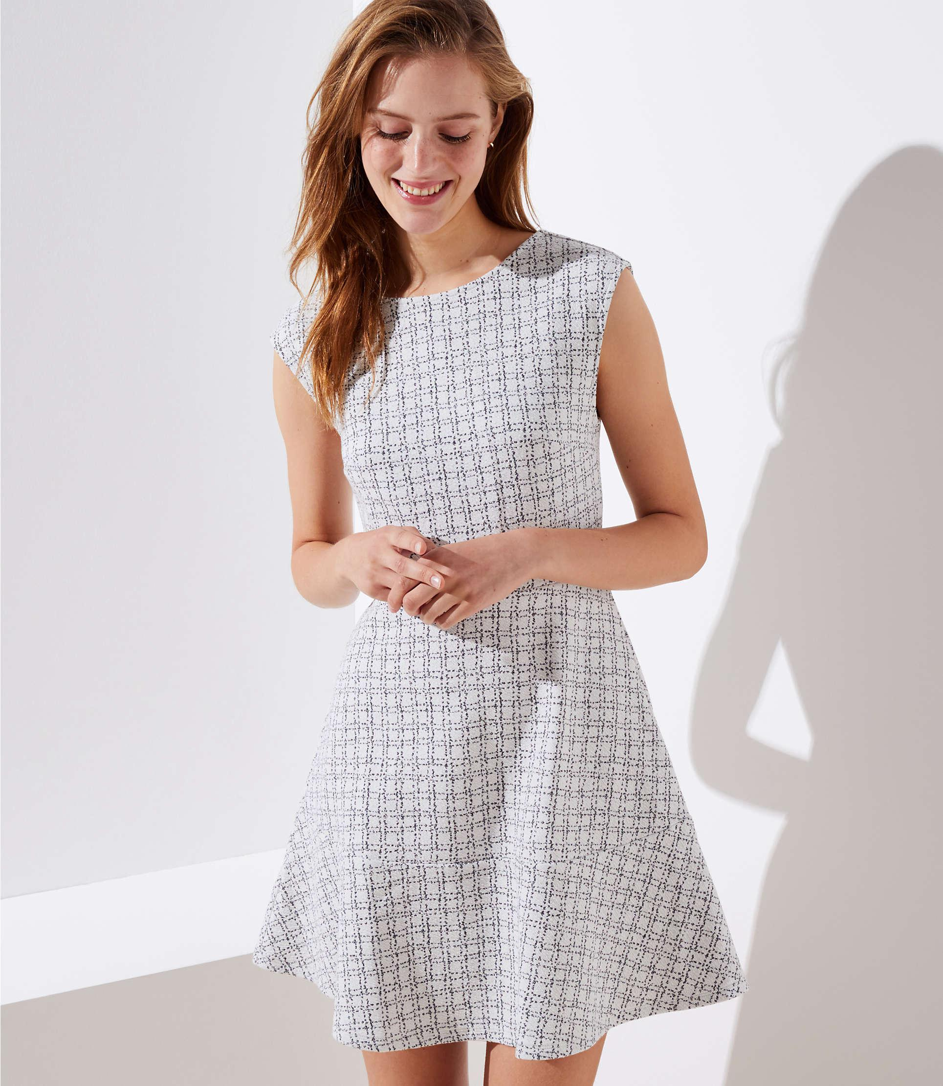 56fd5465367c LOFT Tall Checked Jacquard Flare Dress in White - Lyst