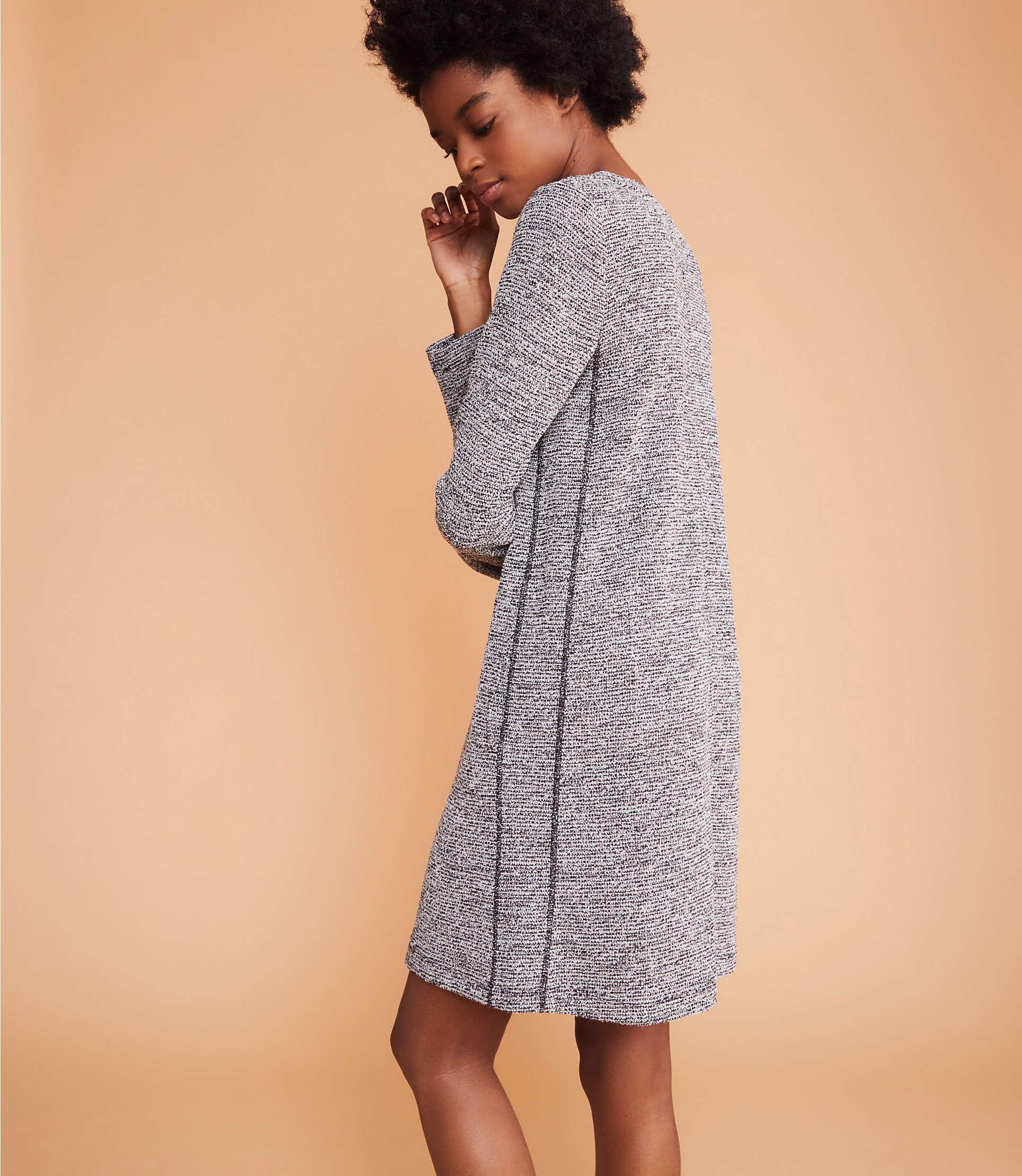 25885256ce5 LOFT - Gray Lou   Grey Boucle Tweed Pocket Dress - Lyst. View fullscreen