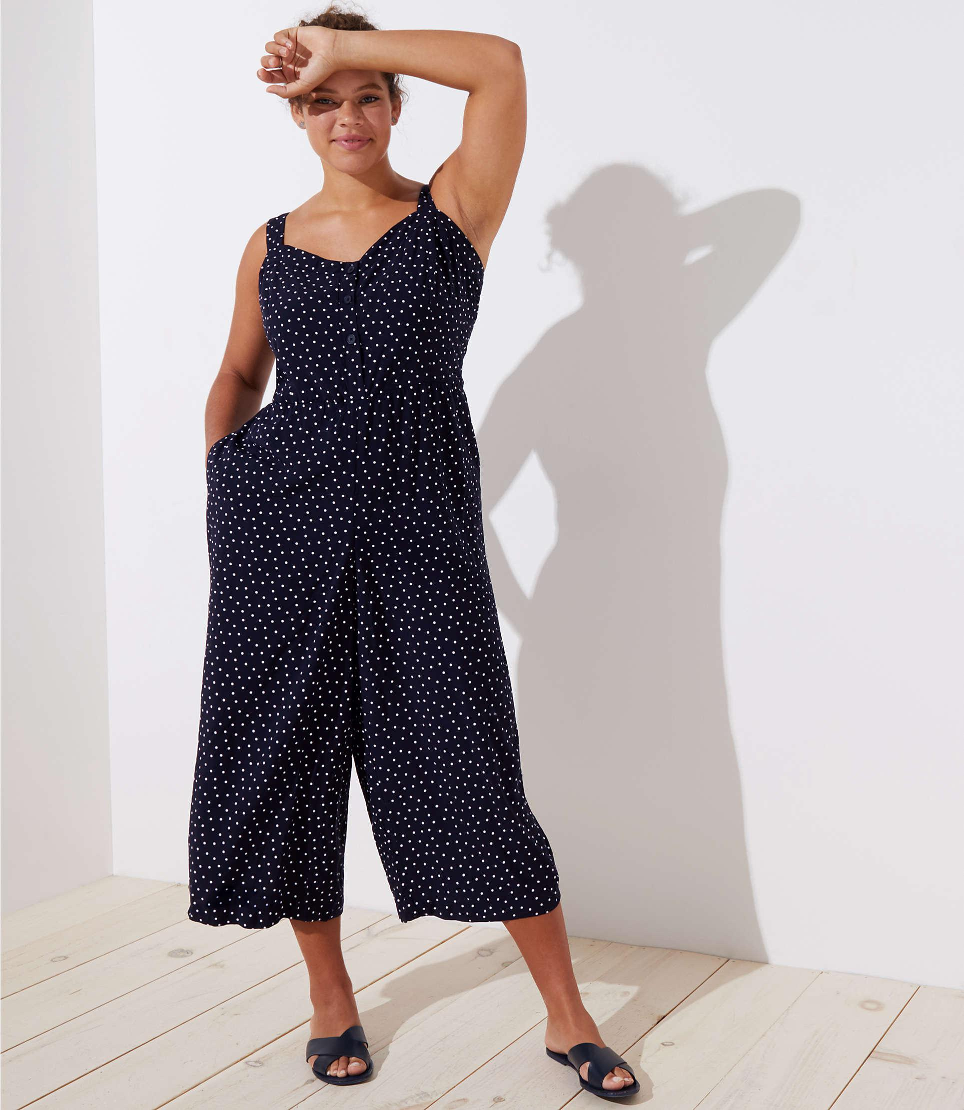 9bca120b37f LOFT Plus Dotted Strappy Crop Jumpsuit in Blue - Lyst