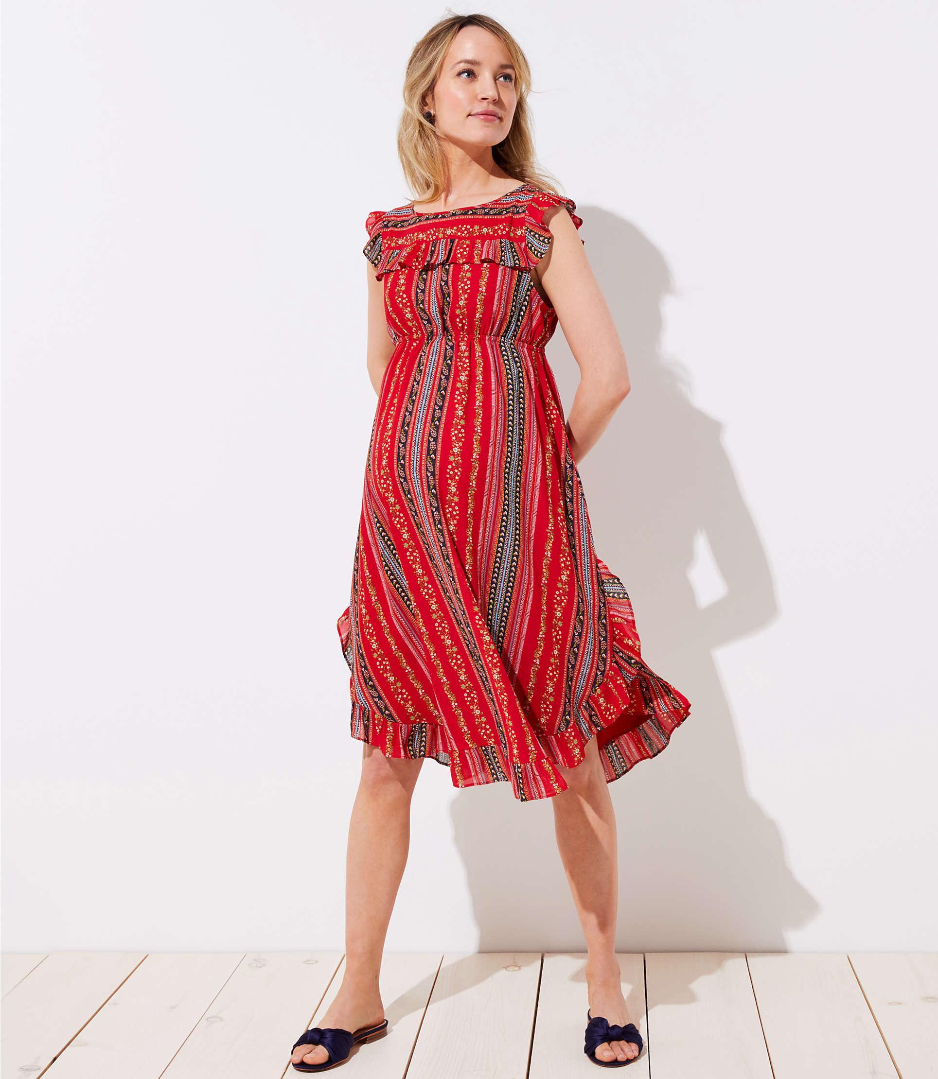 Lyst loft maternity sirena ruffle dress in red loft womens red maternity sirena ruffle dress ombrellifo Choice Image