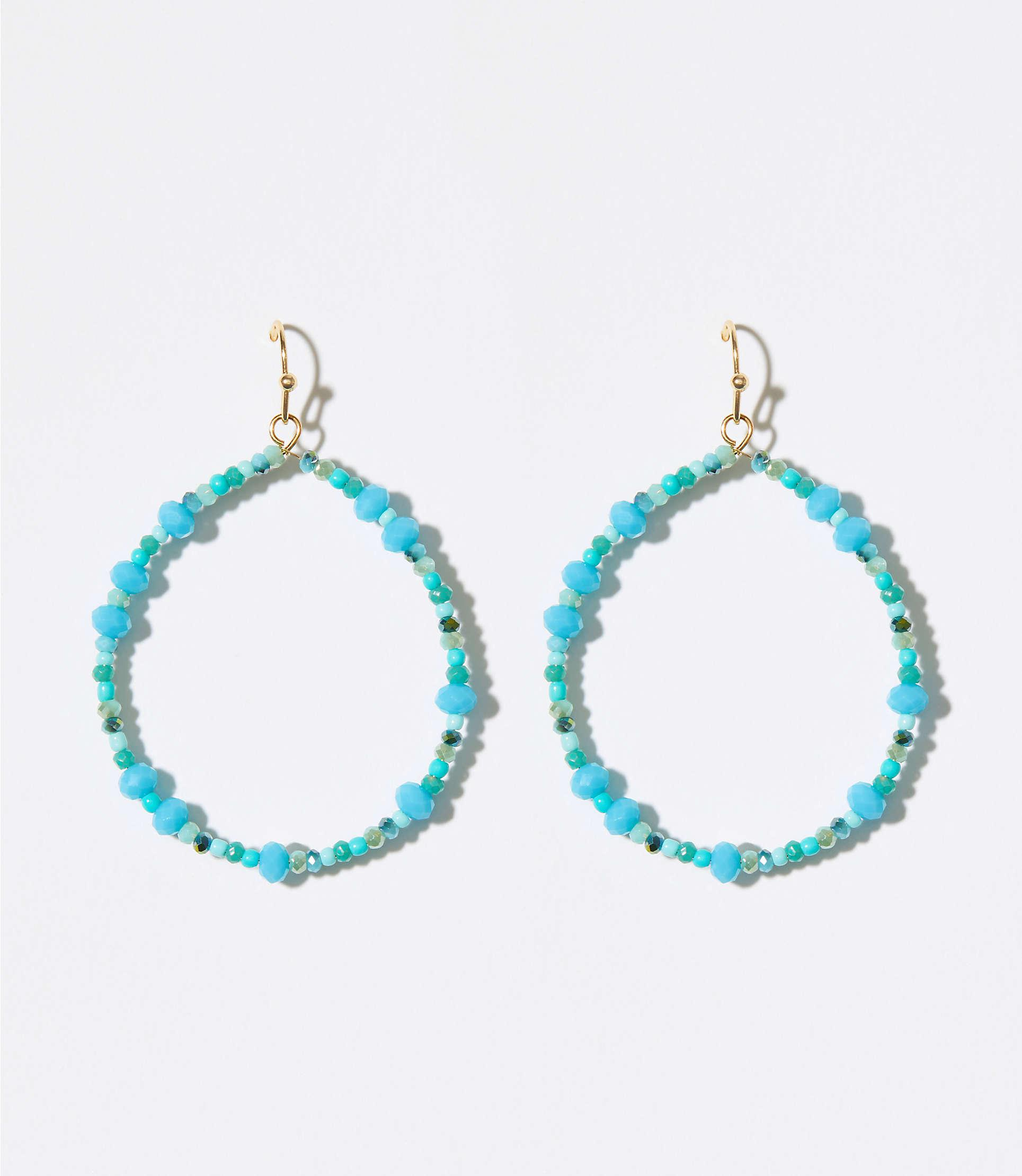 3adbadb2b LOFT Beaded Loop Drop Earrings in Blue - Lyst
