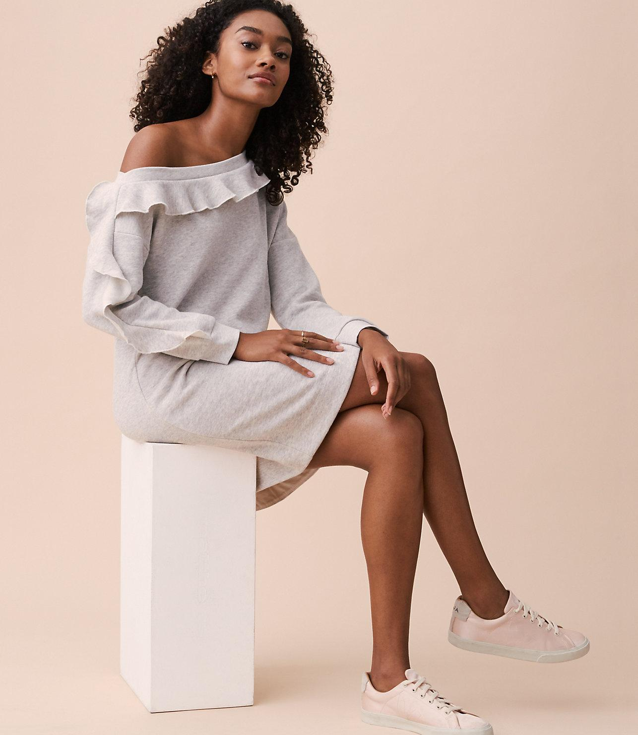 8cdc2106893da9 Lyst - LOFT Lou   Grey Ruffle Off The Shoulder Sweatshirt Dress in Gray