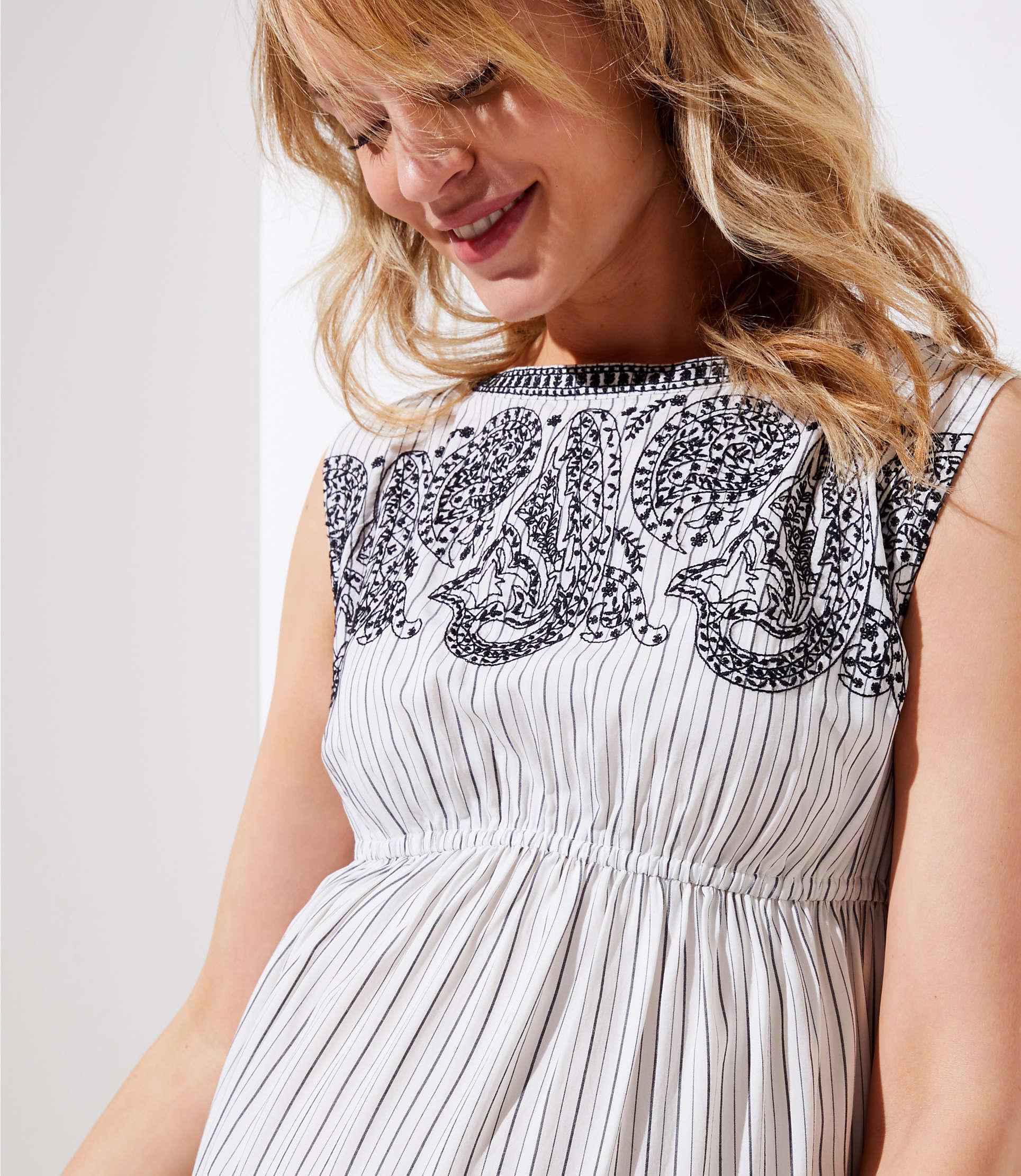 39c9233d2592b LOFT Maternity Embroidered Stripe Midi Dress in White - Lyst