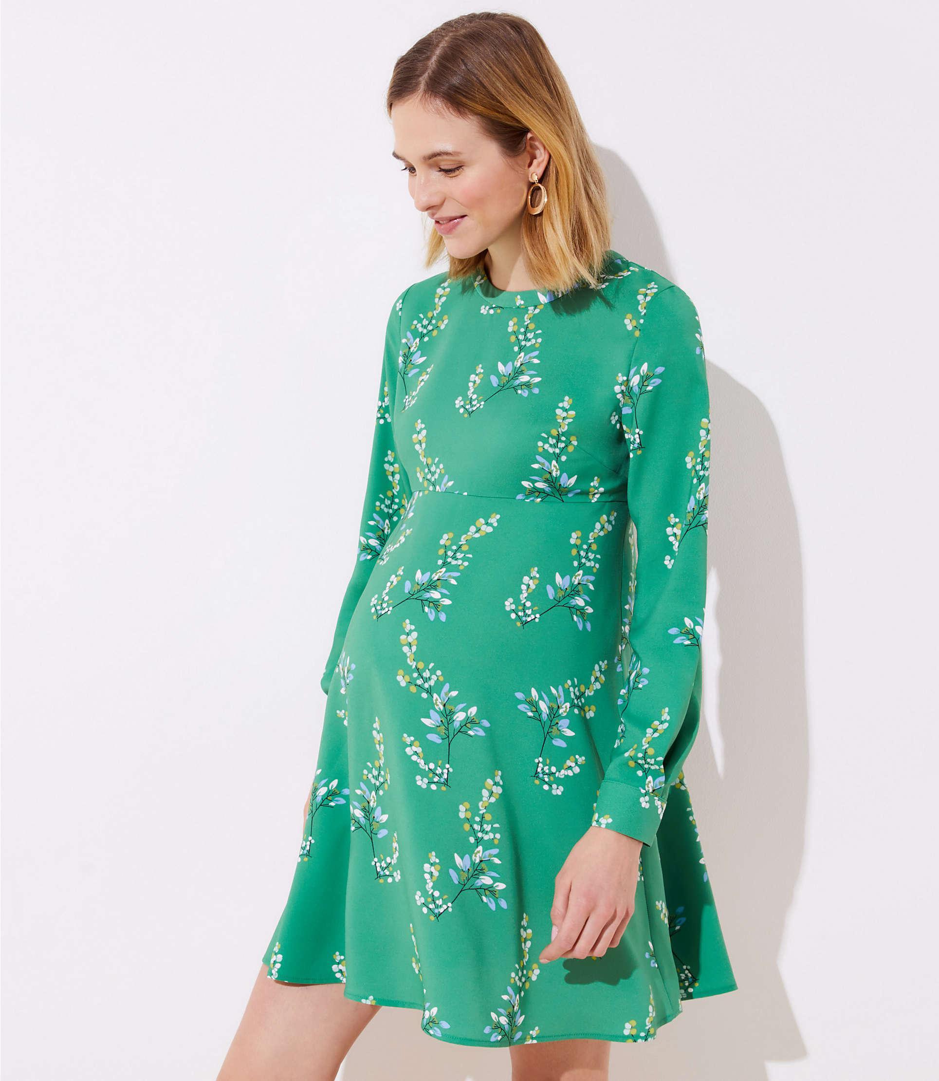 7e2f311b227a0 Lyst - LOFT Maternity Flower Branch Flare Shirtdress in Green