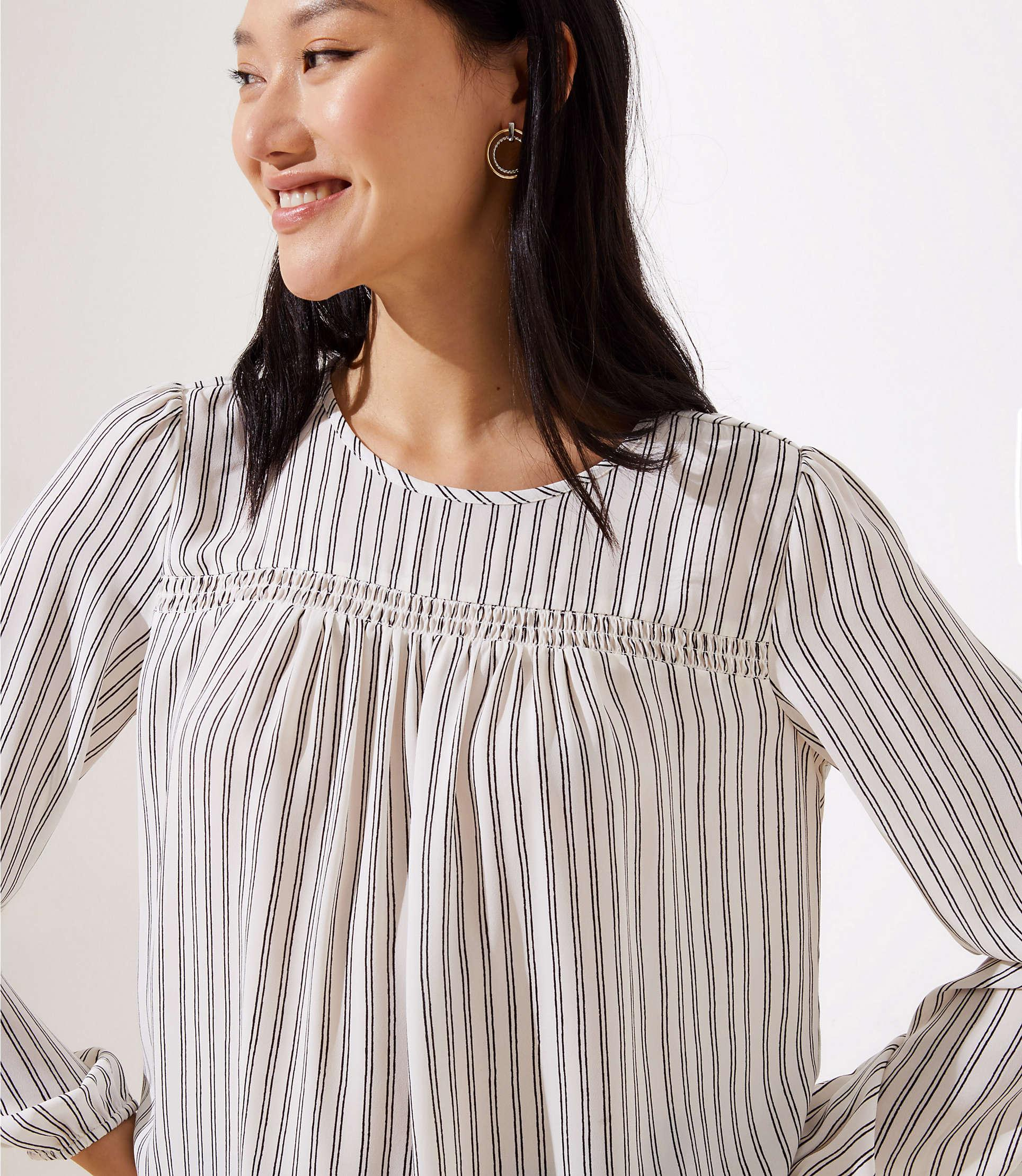 1f0042979f29c3 LOFT - Black Petite Striped Smocked Mixed Media Blouse - Lyst. View  fullscreen