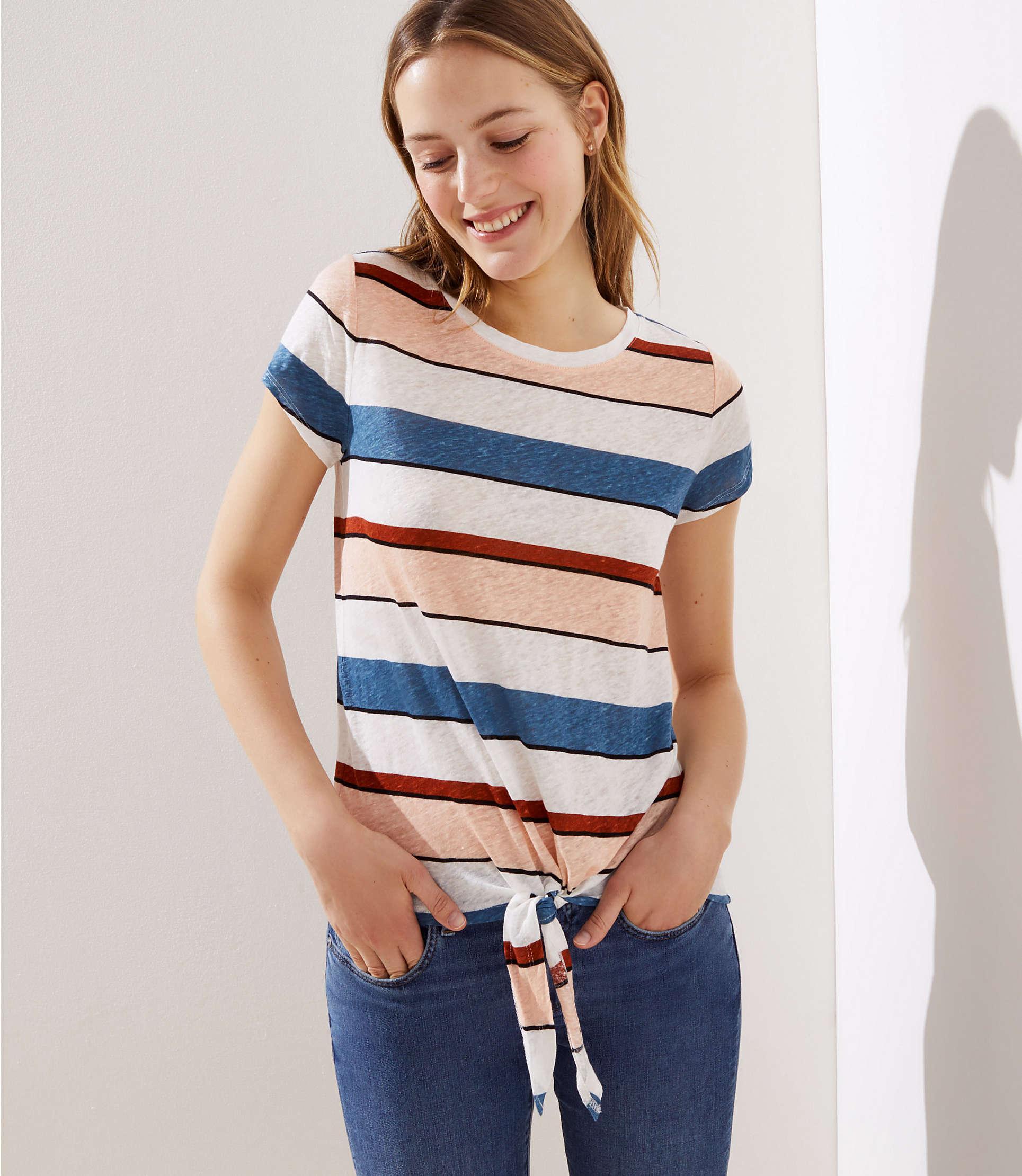 05e8a8f377 Lyst - LOFT Striped Tie Hem Linen Tee in White