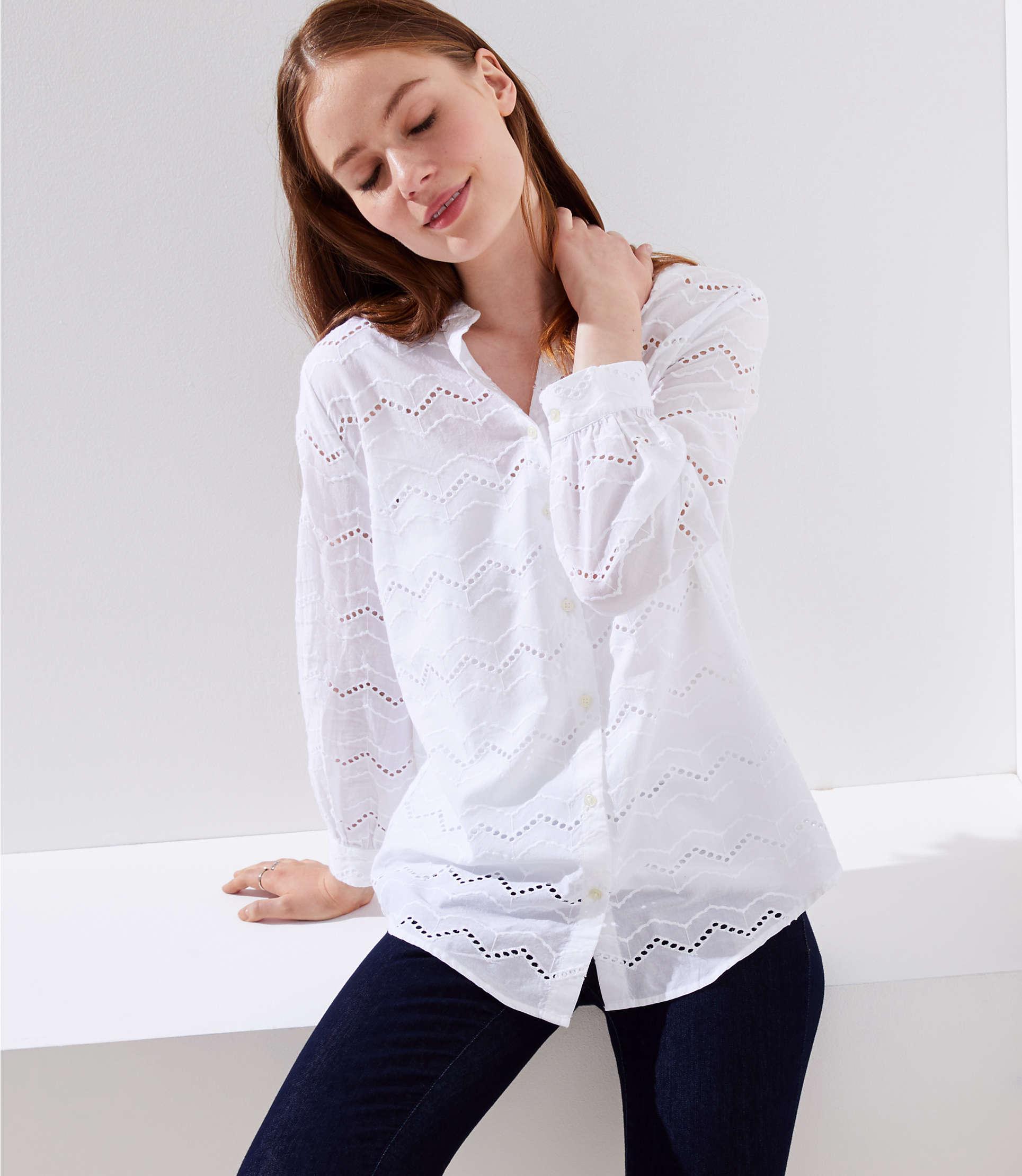 2104f143b LOFT Zig Zag Eyelet Button Down Shirt in White - Lyst
