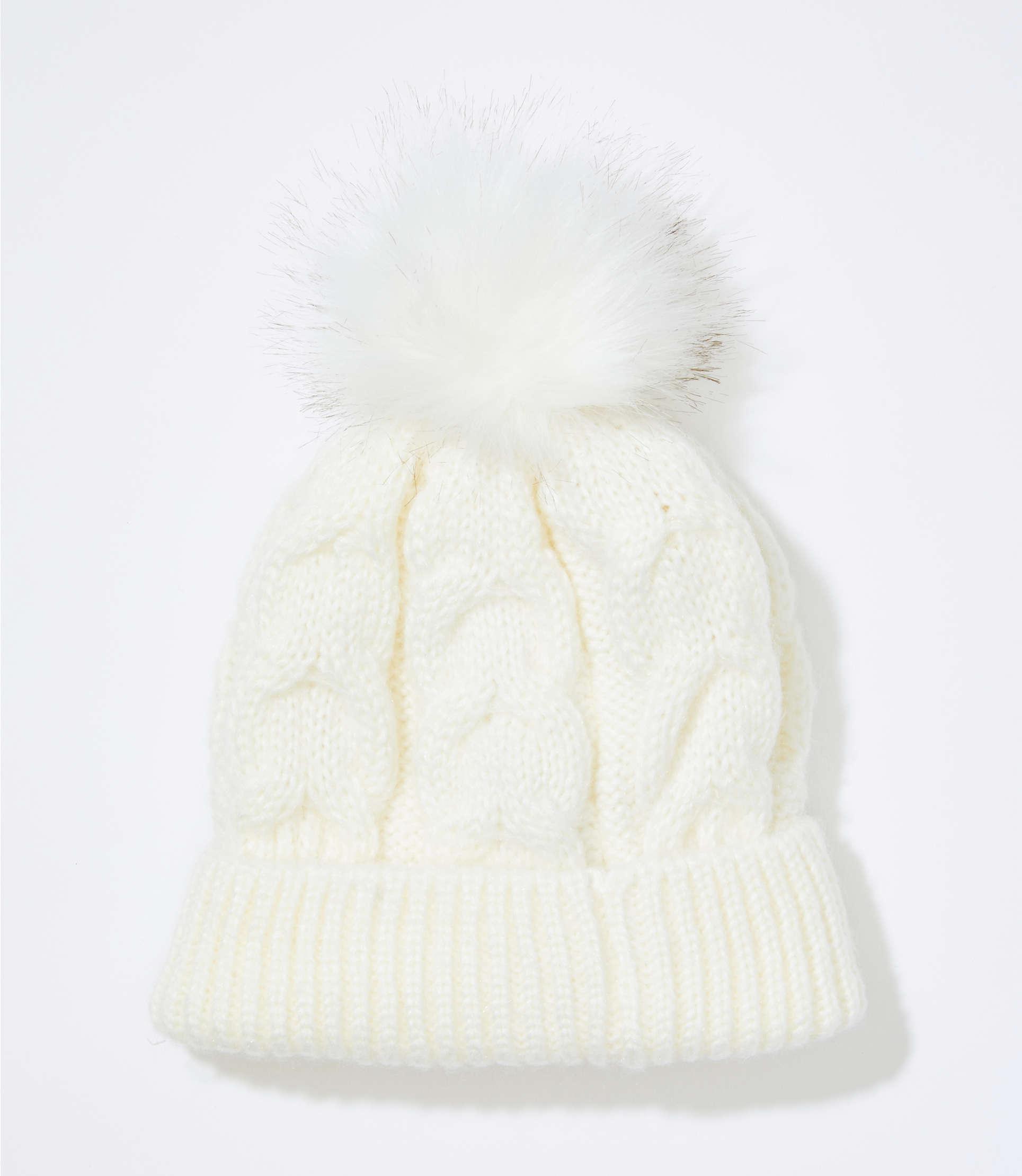 92b2efa2677 Loft Cable Faux Fur Pom Pom Hat in White - Lyst