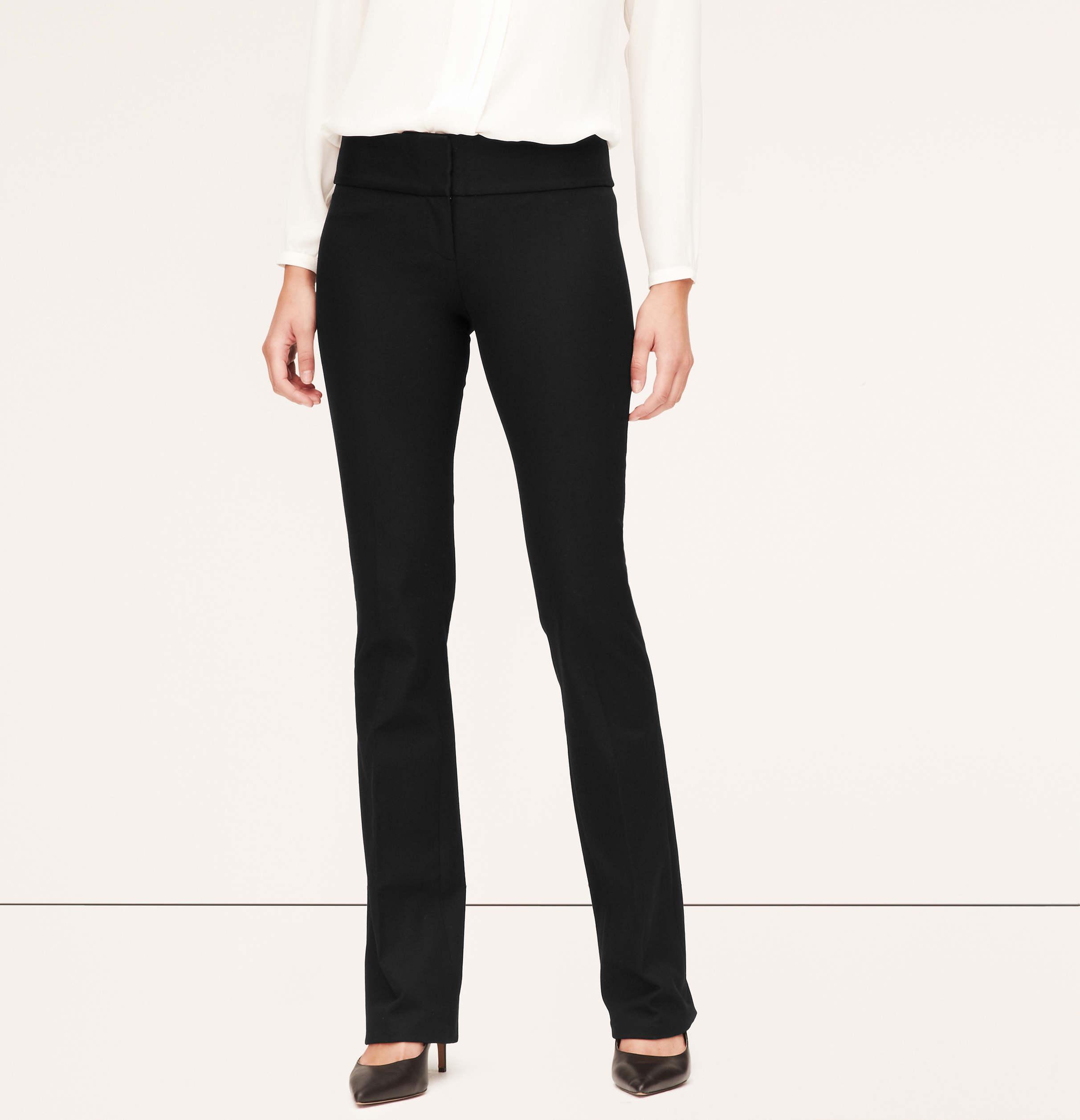Black bi stretch bootcut trousers