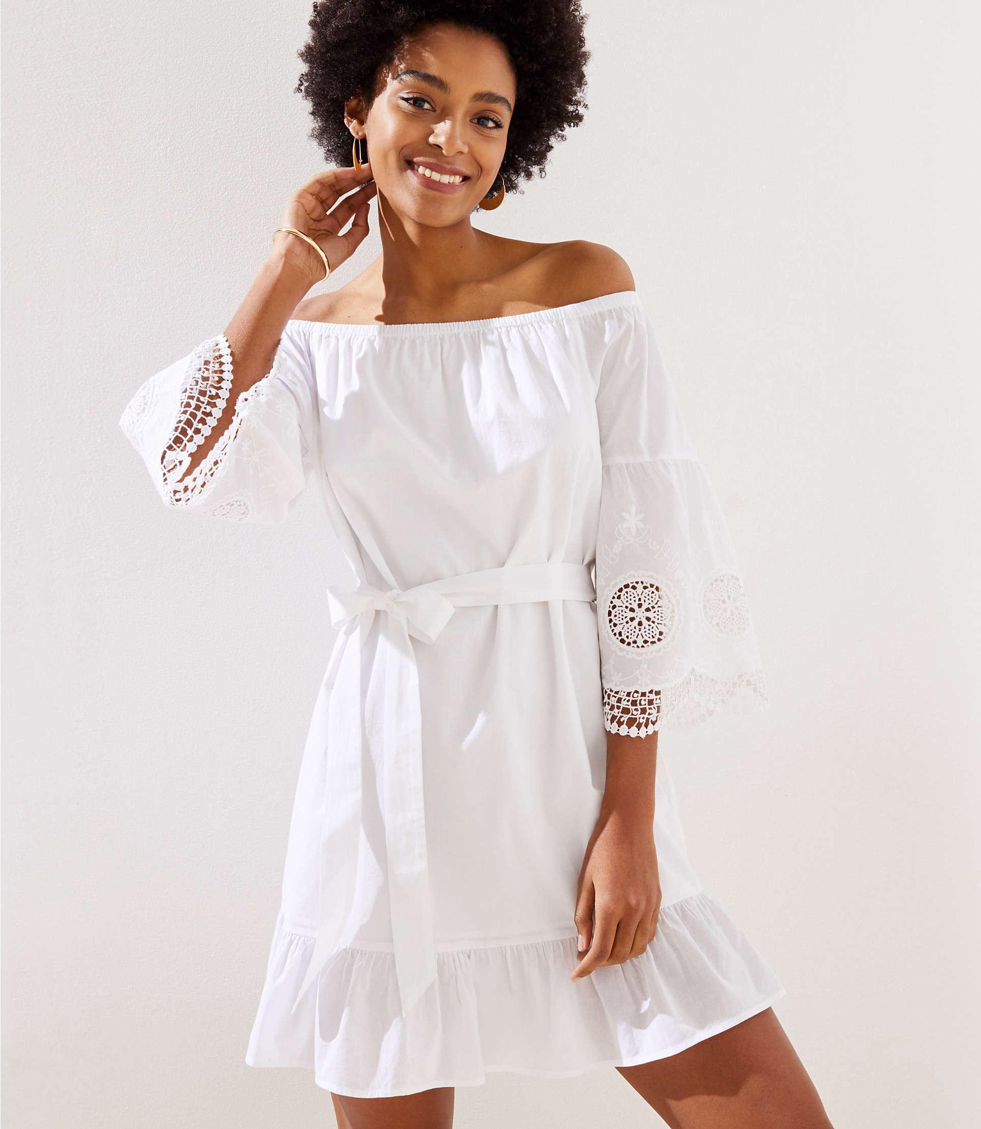 21e84d1804680 LOFT Beach Off The Shoulder Eyelet Sleeve Dress in White - Lyst