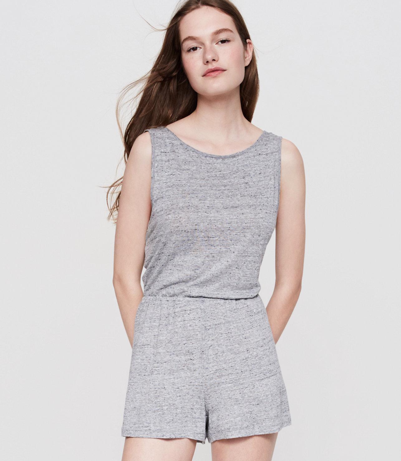 4c7b81f1d08 Lyst - LOFT Lou   Grey Linen Jersey Twist Romper in Gray