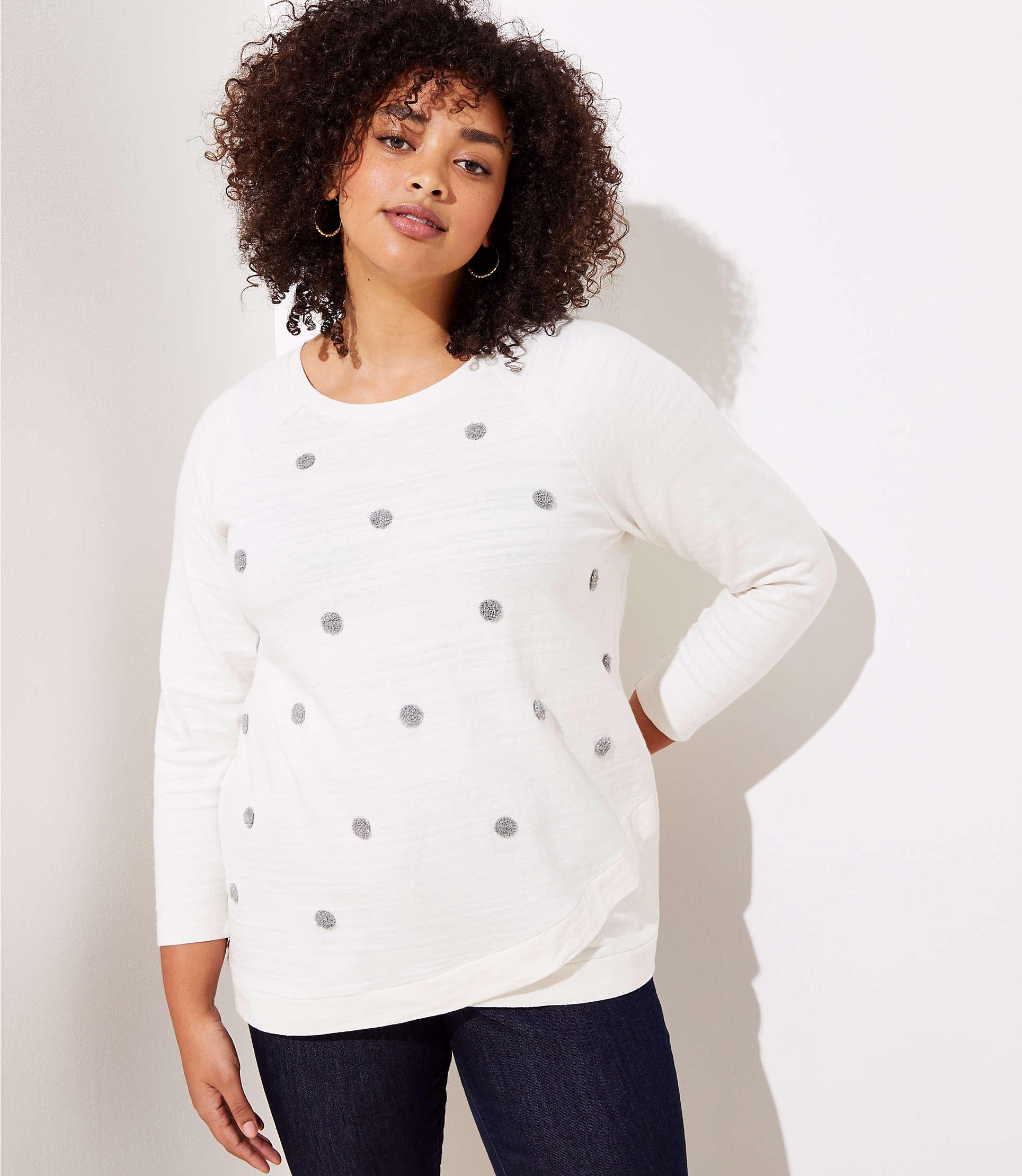 48f1fe1a2a LOFT Plus Texture Dot Crossover Sweatshirt in White - Lyst