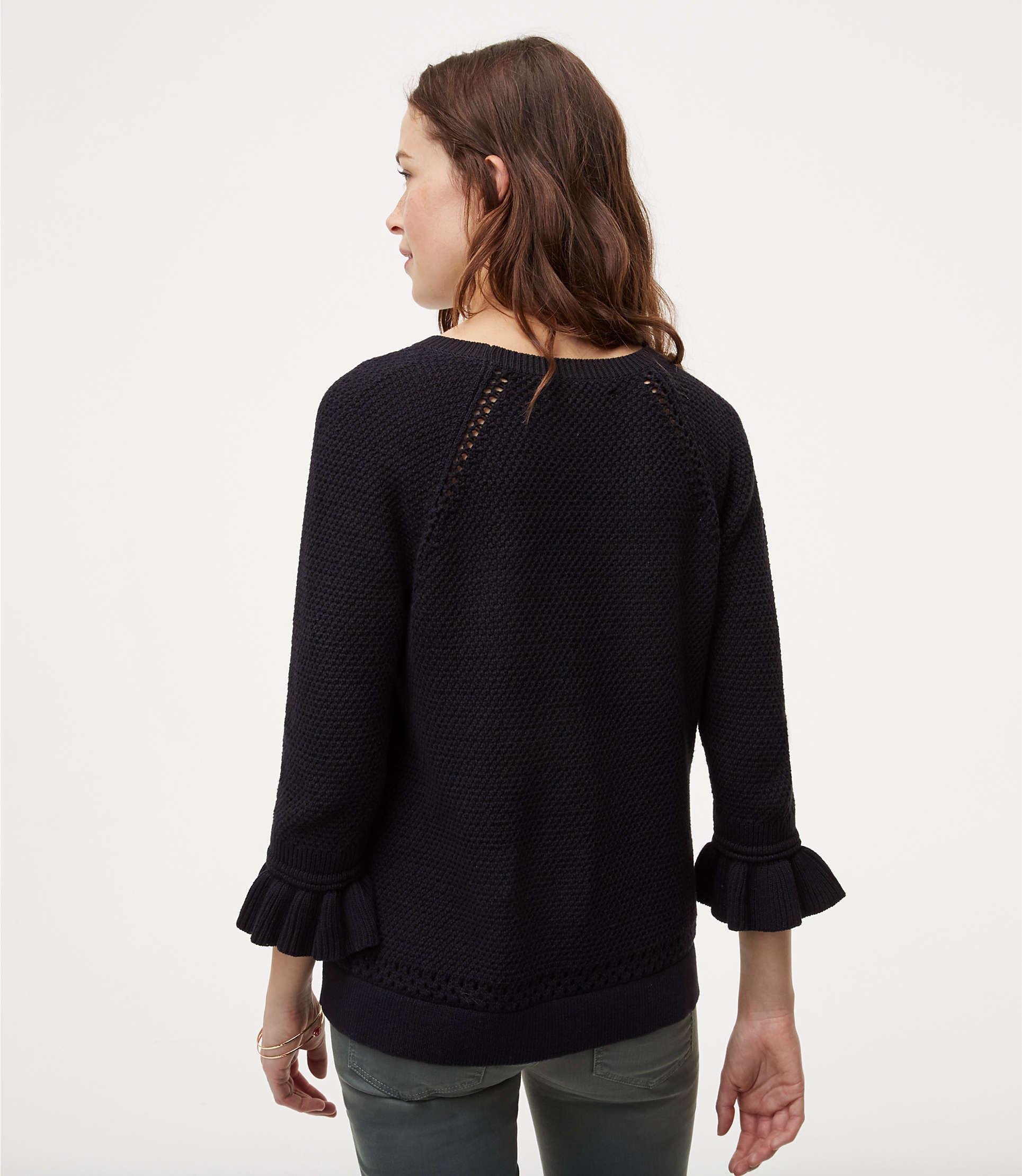 Cuffed Sweaters: LOFT Cotton Ruffle Cuff Sweater In Black