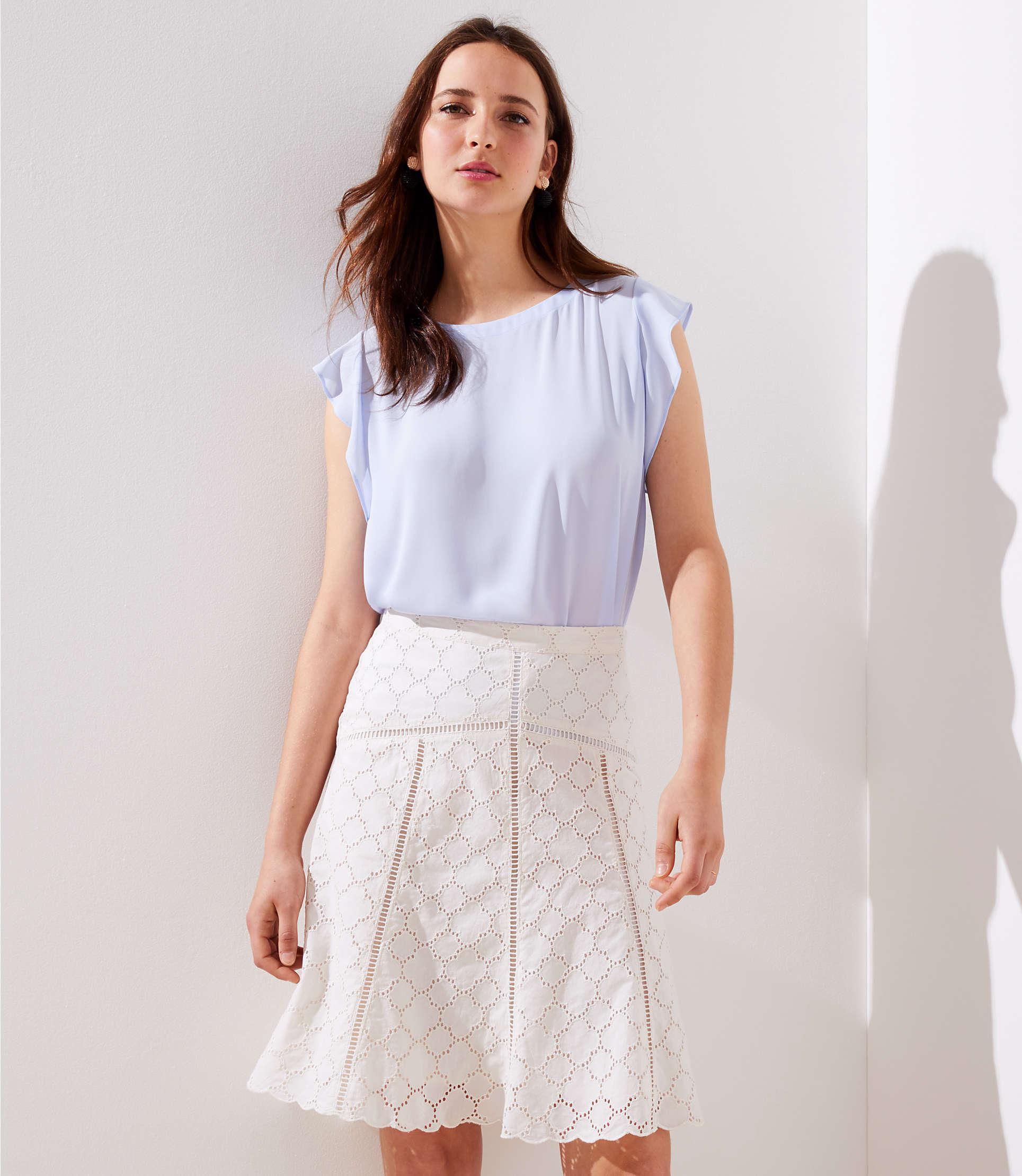 4571acc5a4 LOFT Petite Cutout Eyelet Skirt in White - Lyst