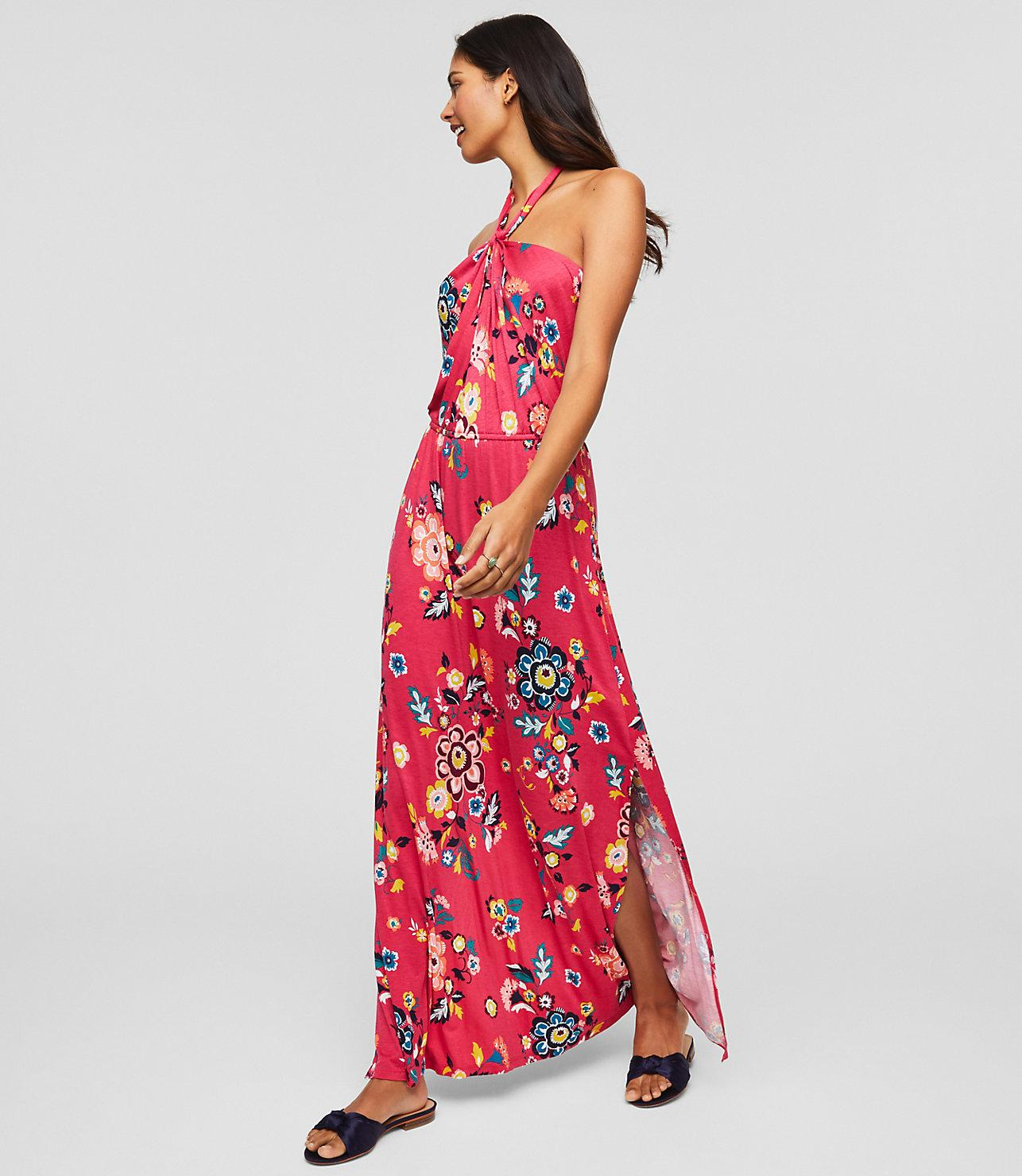b5696d53f49b LOFT Beach Floral Twist Halter Maxi Dress in Pink - Lyst