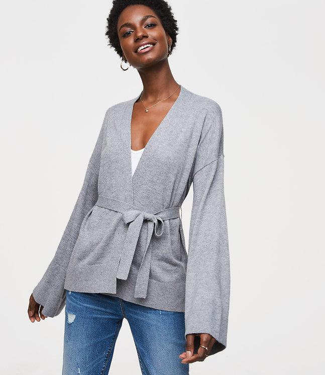 Loft Petite Kimono Cardigan in Gray | Lyst
