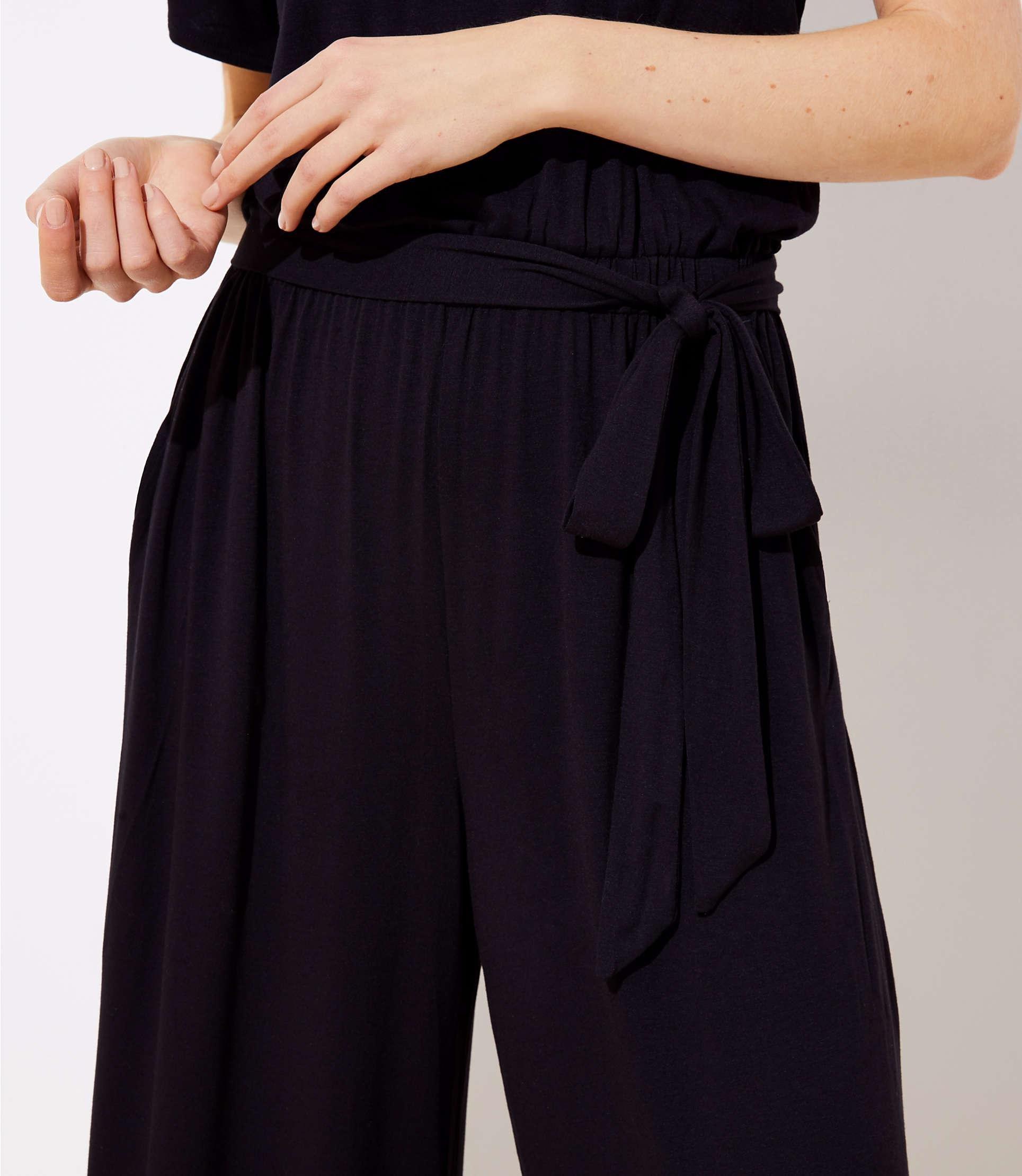 431f2d99eaf LOFT - Black Beach Tie Waist Wide Leg Jumpsuit - Lyst. View fullscreen