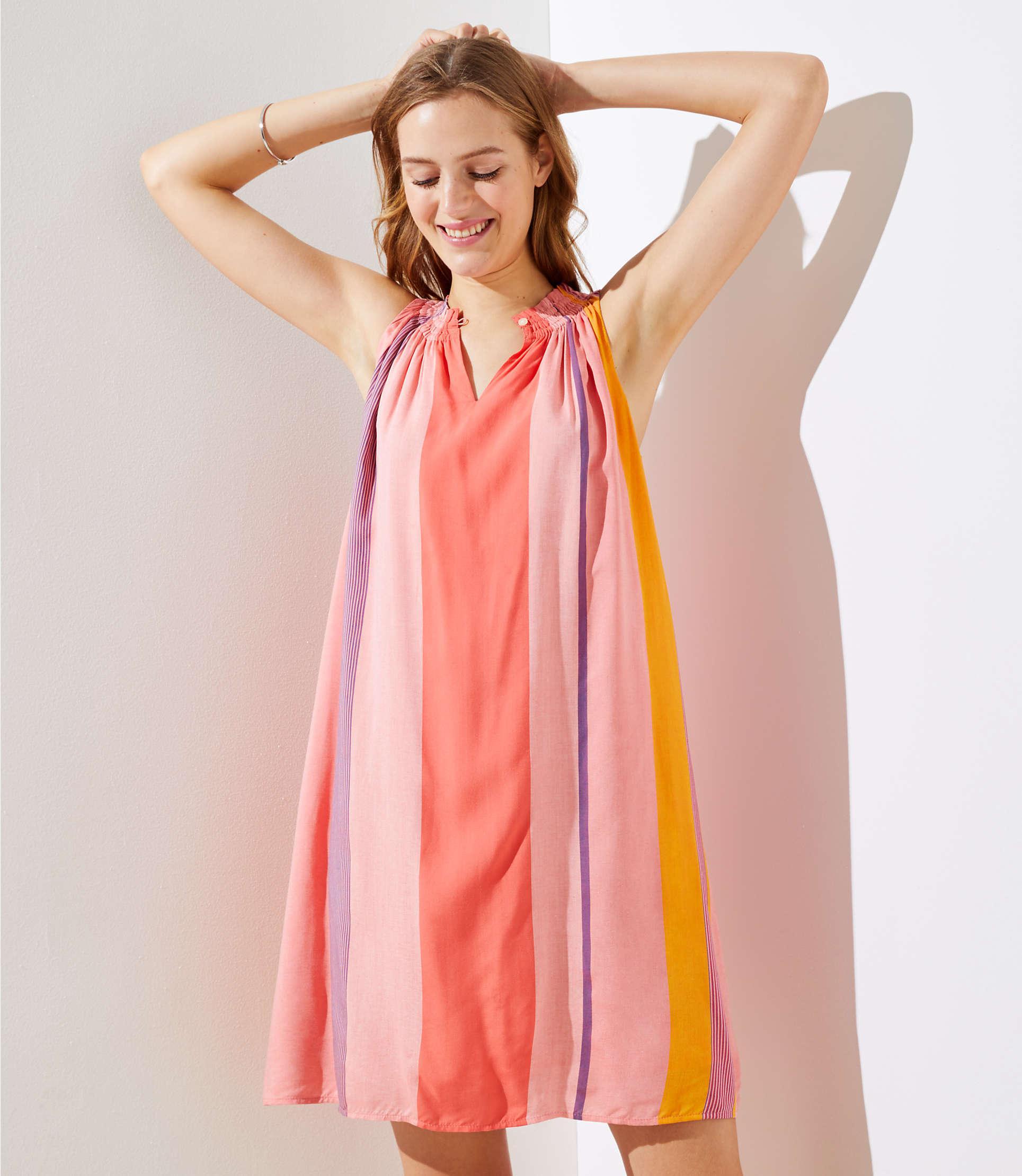 b6fabdb96844 LOFT Tall Watercolor Stripe Halter Swing Dress in Pink - Lyst
