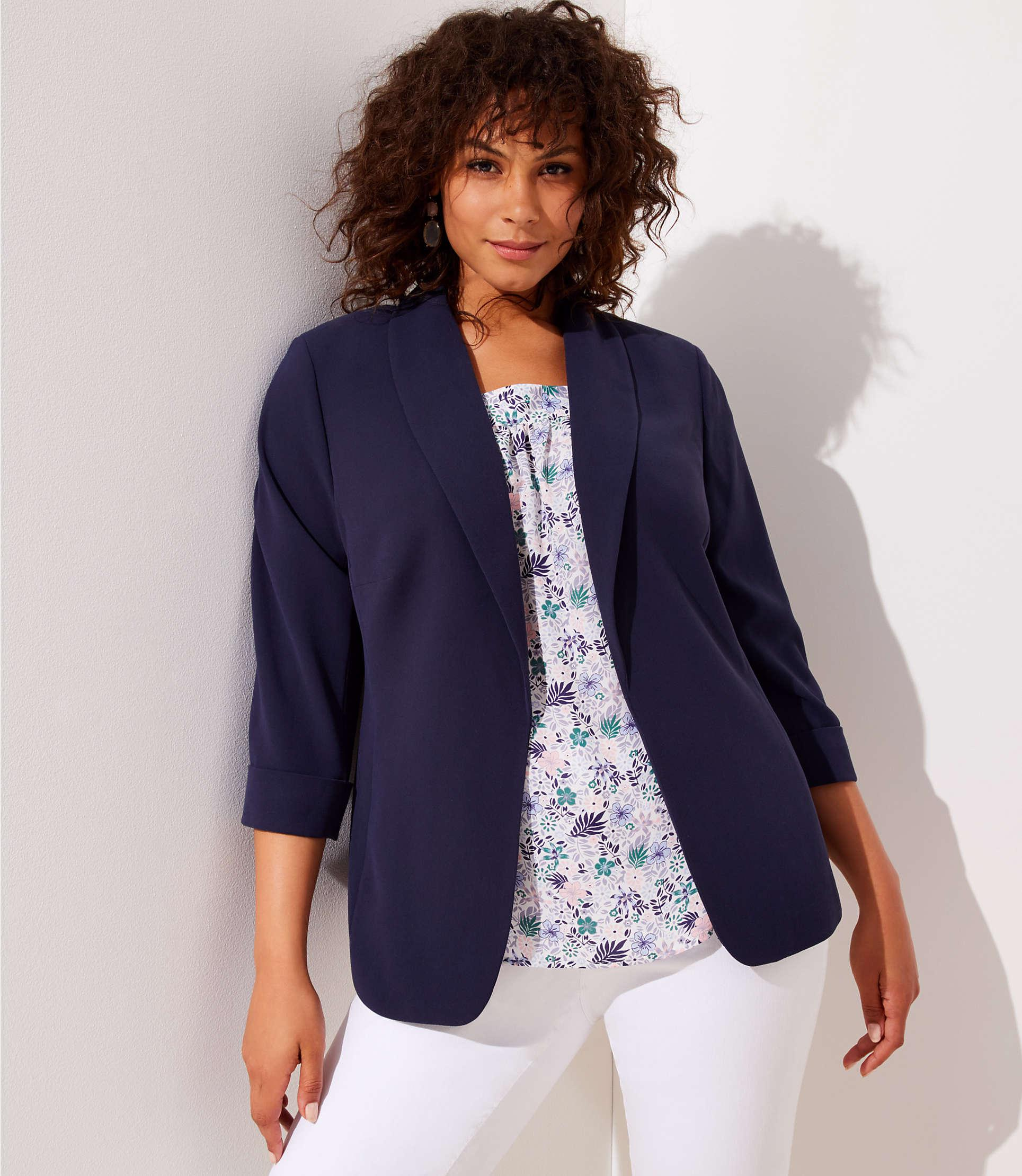 abcb0ffd6ee94 Loft Plus Fluid Open Blazer in Blue - Lyst