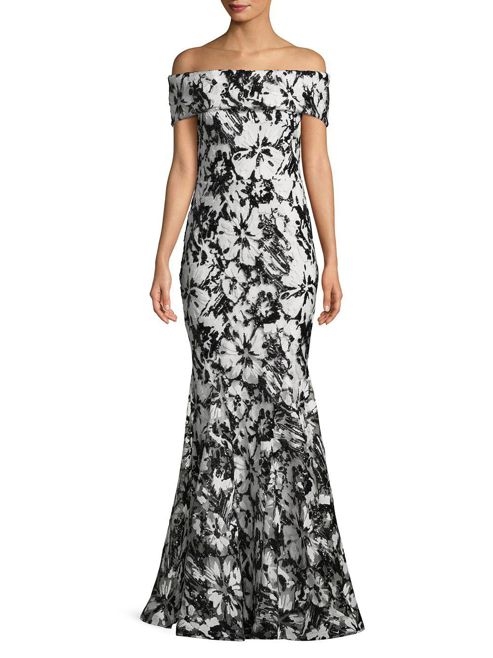 fdb914723923b Nicole Bakti Beaded Floral Lace Off-shoulder Gown in Black - Lyst