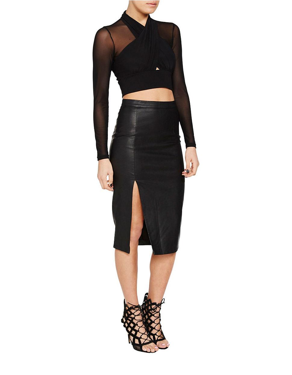 bardot khloe slit faux leather pencil skirt in black lyst