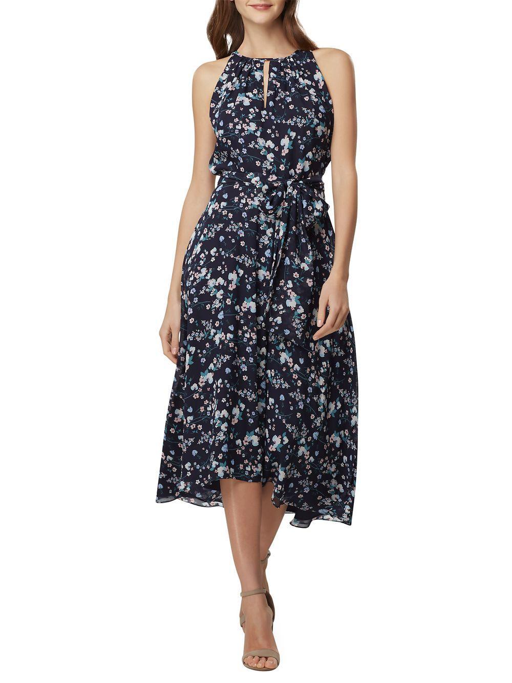 1a5b1af1dc0 Lyst - Tahari Floral Sleeveless A-line Dress in Blue