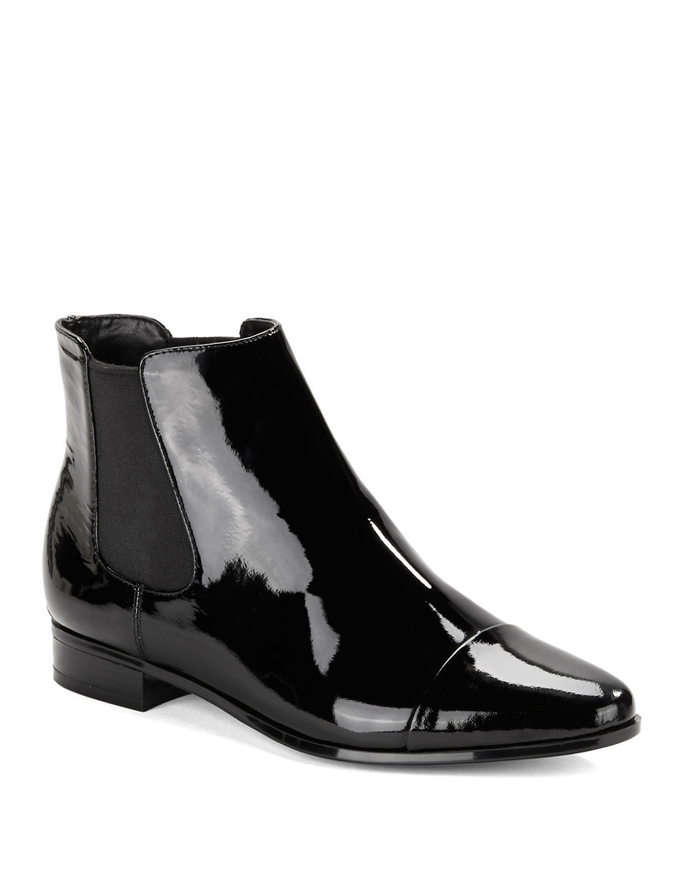 Lyst - Calvin Klein Finilla Faux Patent Leather Booties in ...