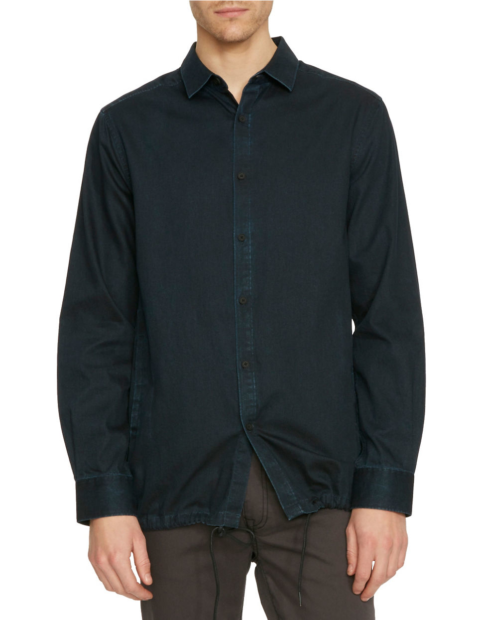 Kenneth Cole Solid Slim Fit Shirt Jacket In Blue For Men